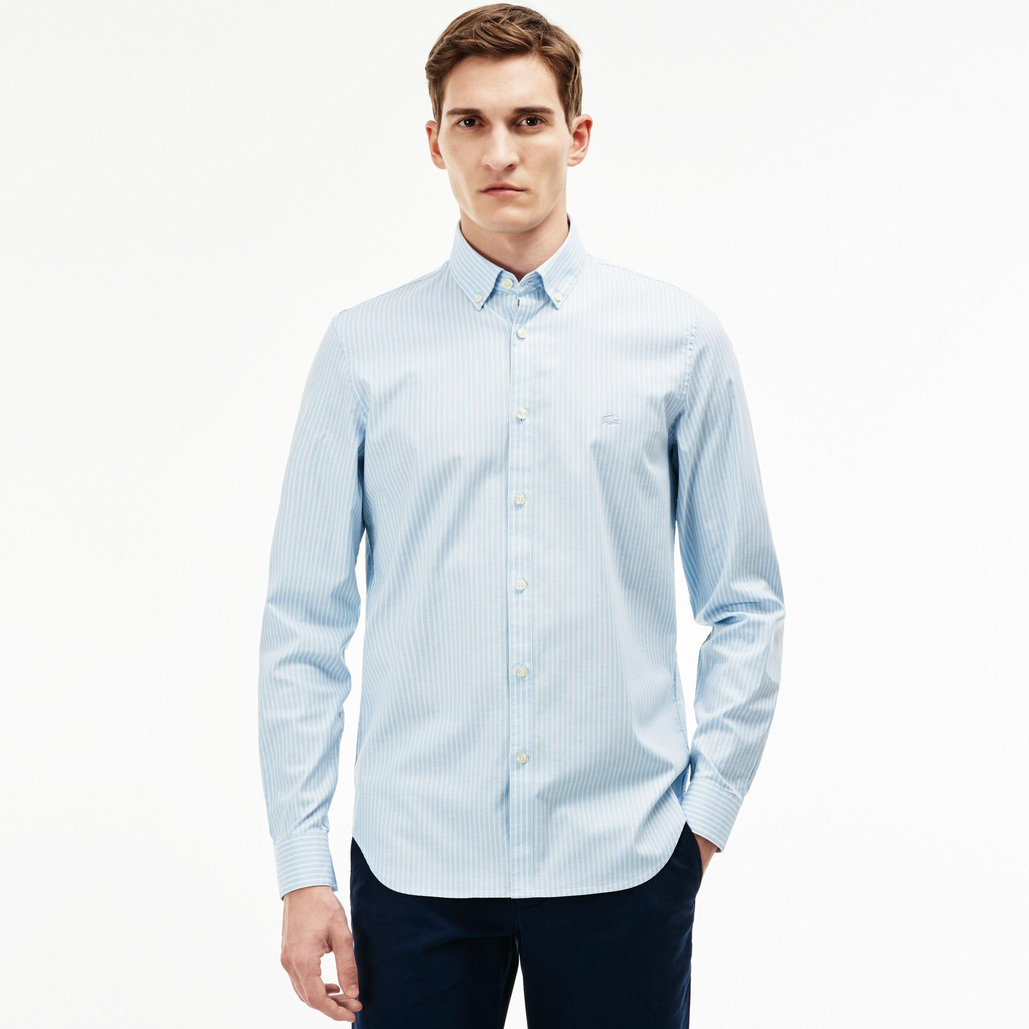 500648f0 Lacoste Blue Slim Fit Striped Stretch Cotton Pinpoint Shirt for men