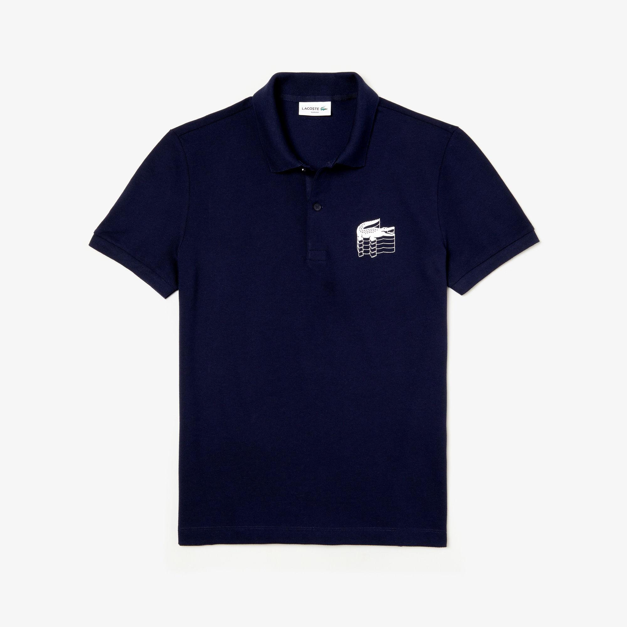 e465ad3b2e59 Lyst - Lacoste Slim Fit 3d Croc Petit Piqué Polo in Blue for Men