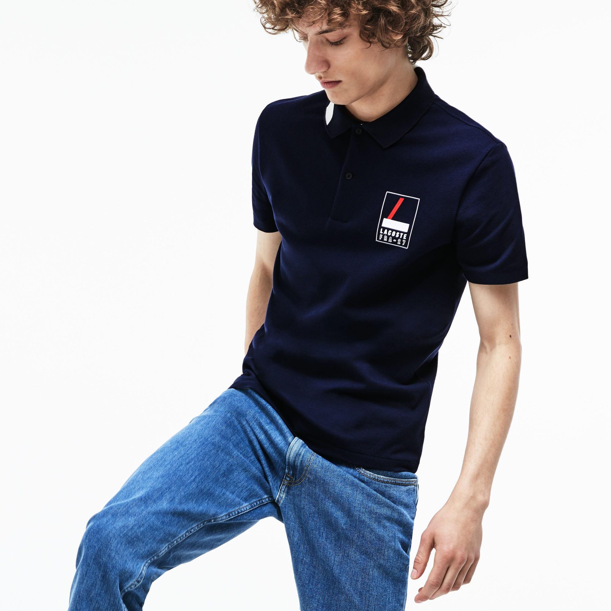 fd092c77 Men's Blue Slim Fit Lettering Stretch Mini Piqué Polo