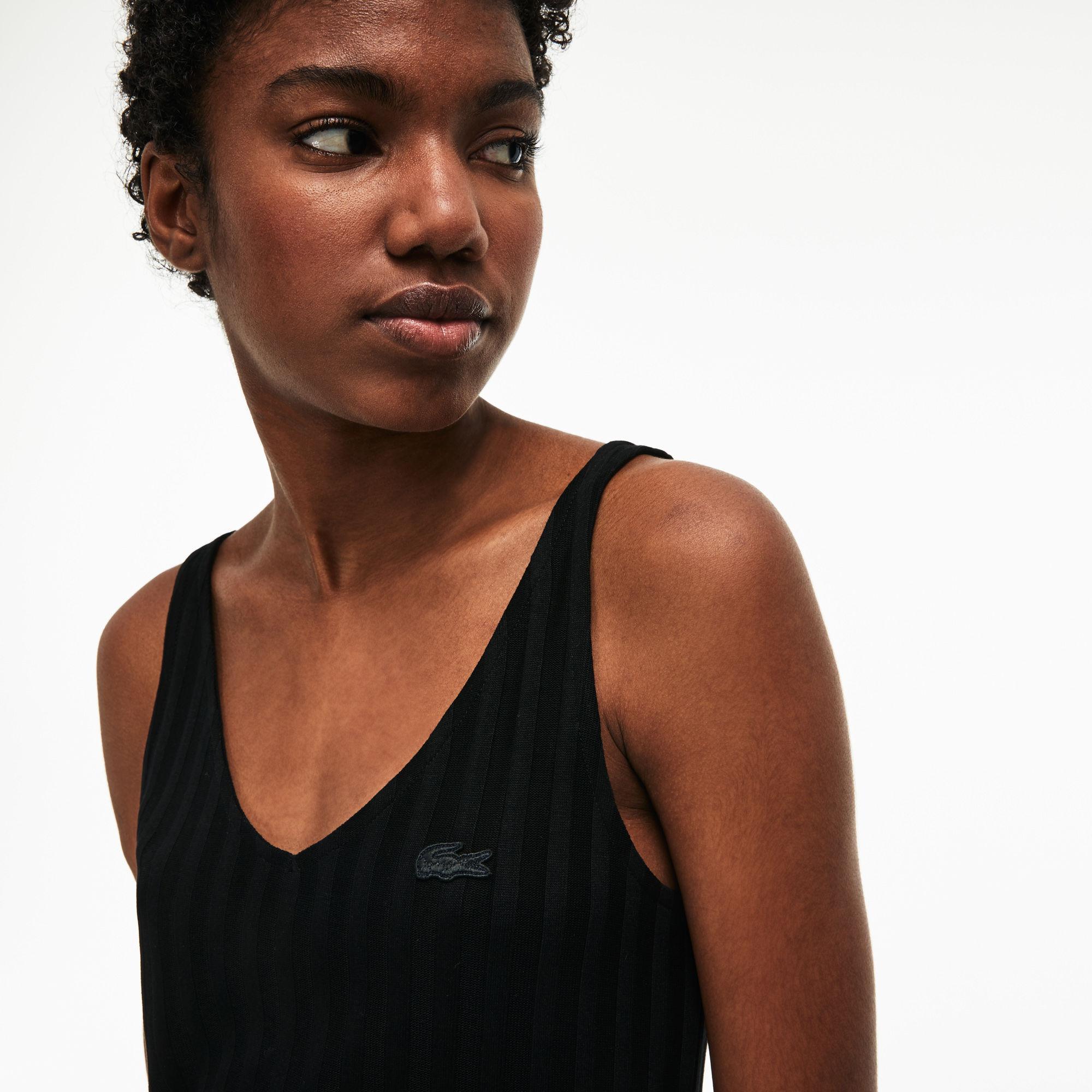 b2ebaaf486 Lacoste Black V-neck Ribbed Knit Tank Top
