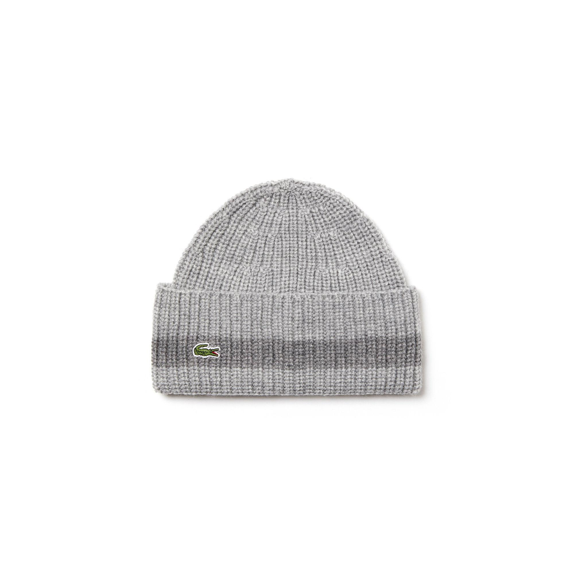 6d8f07f3c5681 Lyst - Lacoste Turned Edge Ribbed Wool Beanie in Gray for Men