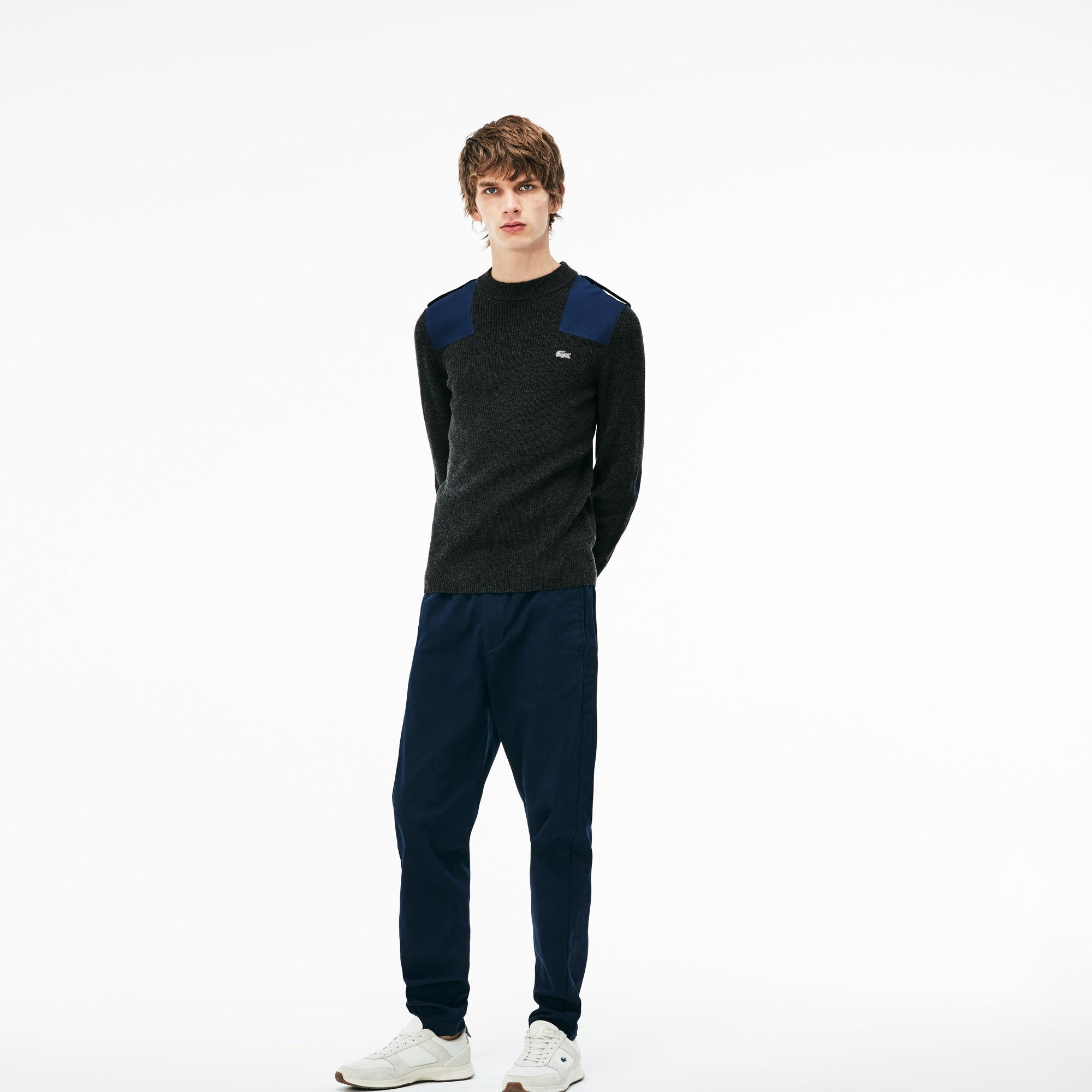 854177b486 Lyst - Lacoste Crew Neck Colorblock Ribbed Wool And Cotton Sweater ...