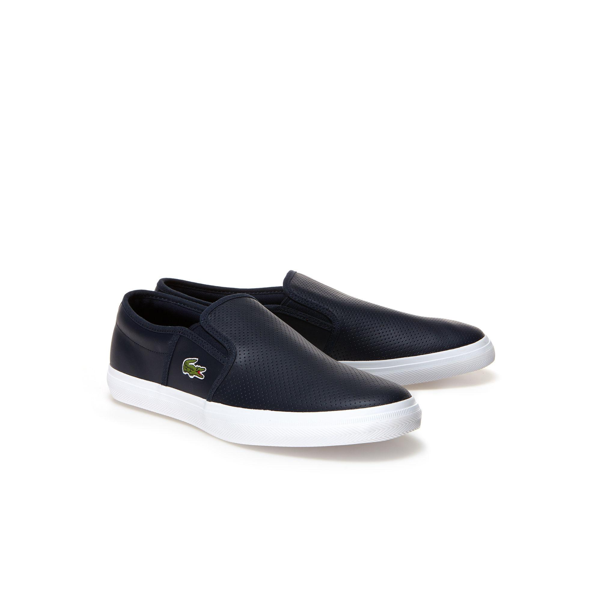 7a45789eb4e0d0 Lyst - Lacoste Gazon Leather Slip-ons in Blue for Men