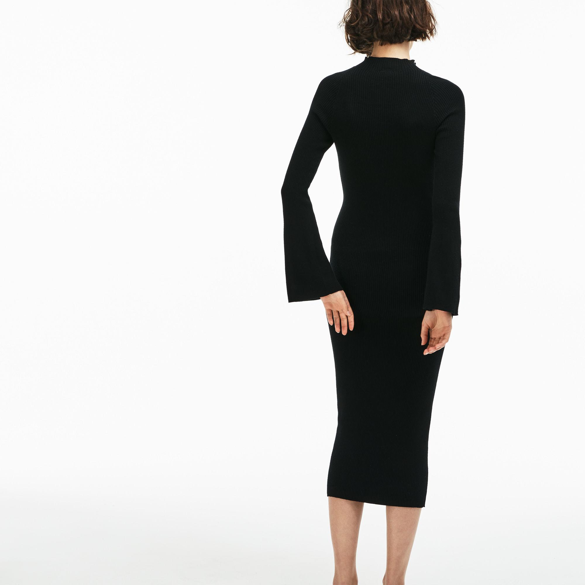 cec1c5fe40 Lacoste Black Live Close-fitting Ribbed Cotton And Cashmere Dress