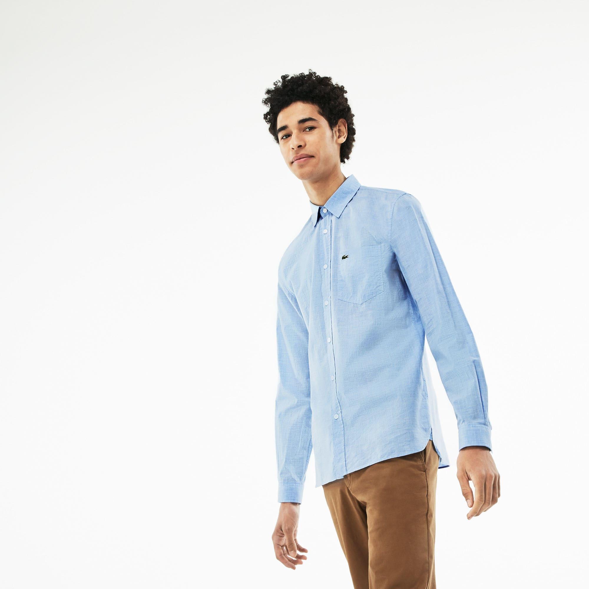 c96883964a Men's Blue Slim Fit Check Cotton Poplin Shirt