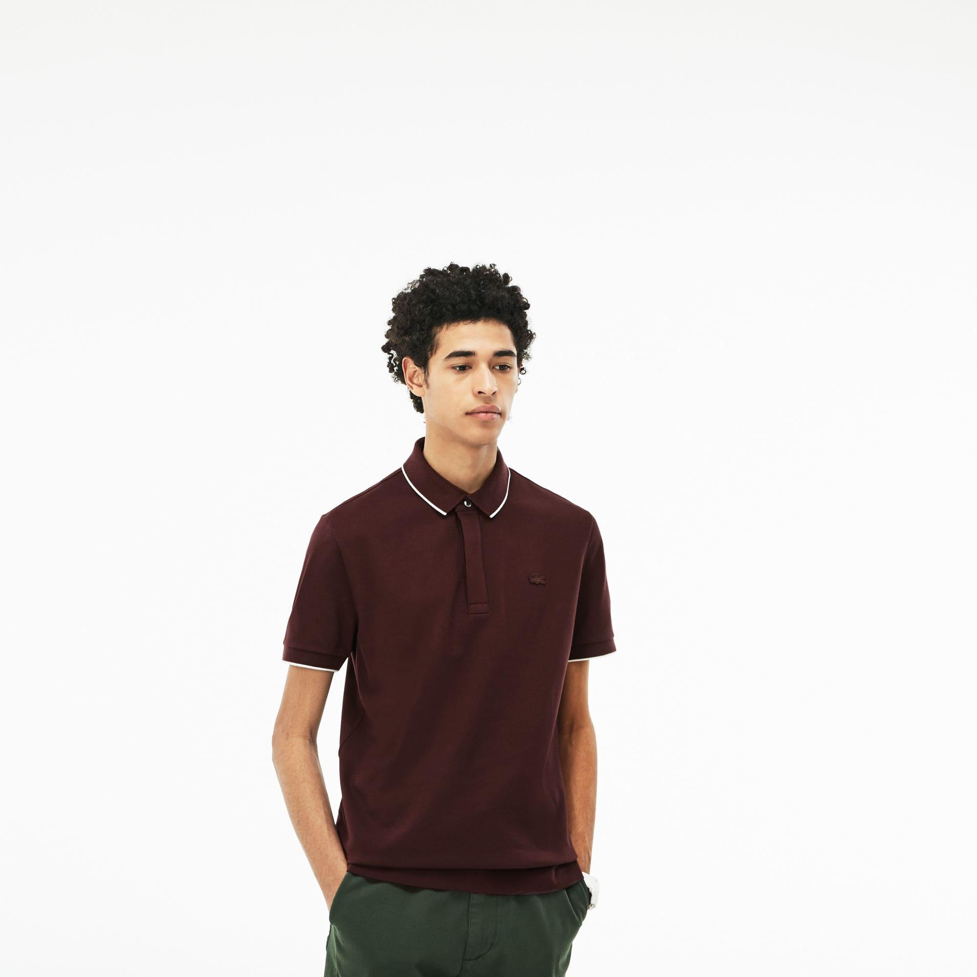f27fe06904 Lacoste Regular Fit Piped Stretch Piqué Polo in Brown for Men - Lyst