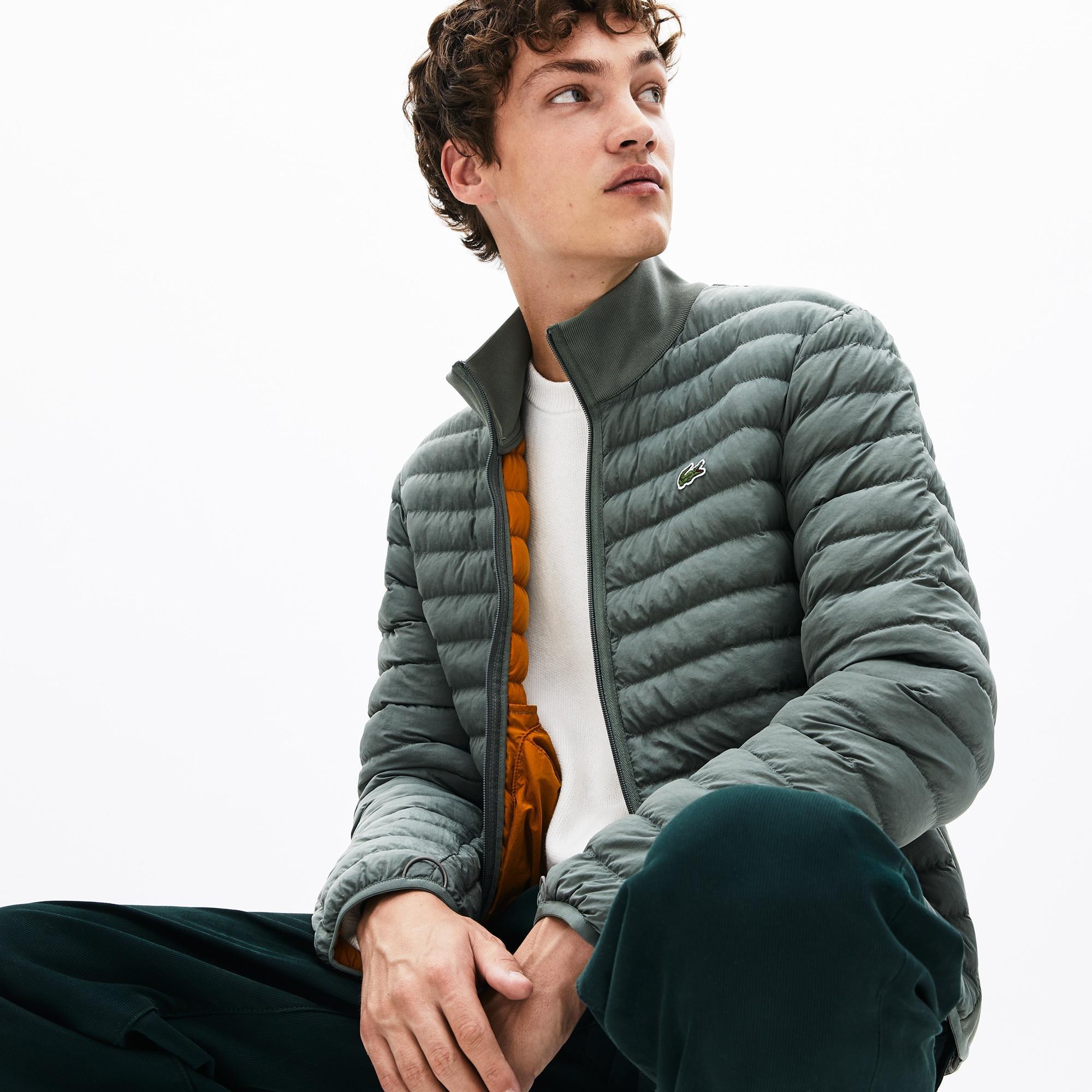 Men/'s Lacoste Combinable Lightweight Quilted Zip Jacket in Black