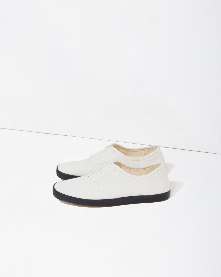 Lemaire Denim Slip-on Sneaker in White