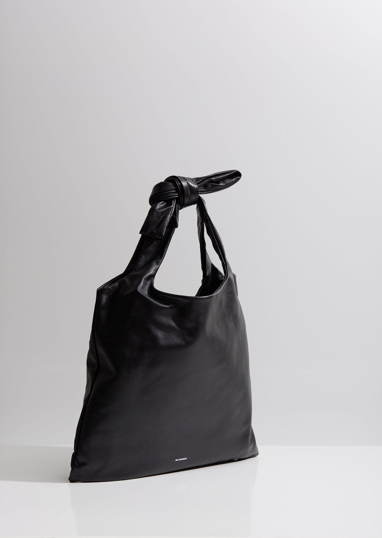 Jil Sander Leather Knot Medium Tote Bag in Black
