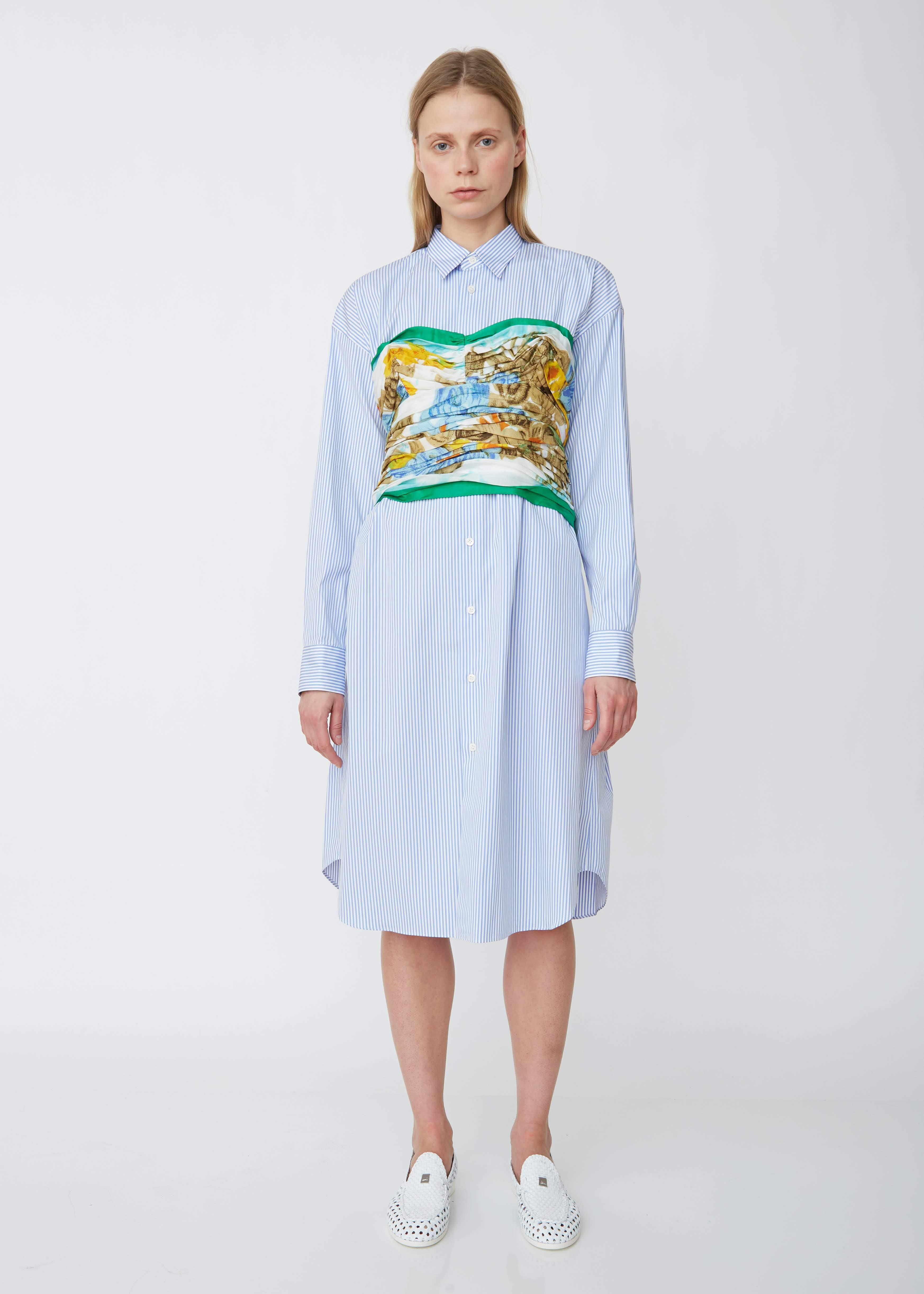 ae55efc7719 Junya Watanabe. Women s Blue Cotton Stripe X Silk Habutai Flower Print  Shirt Dress