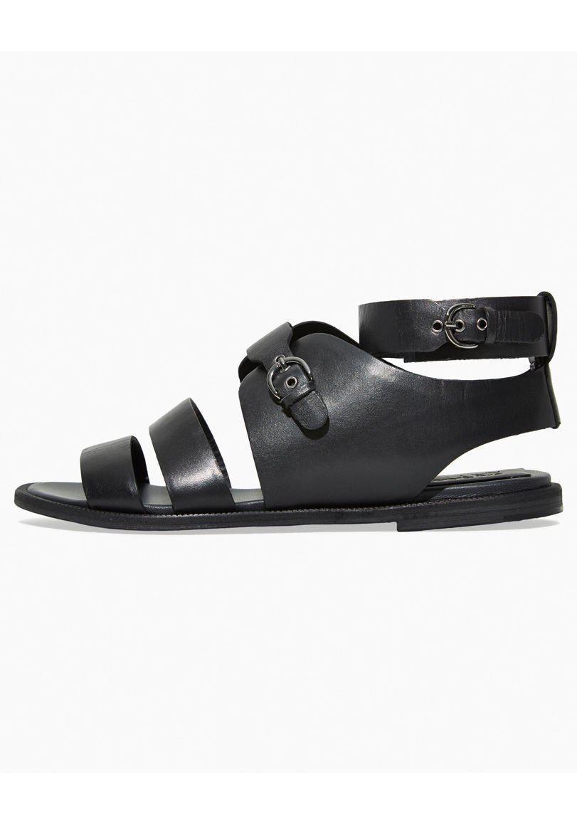 0459453a0ae1e Lyst - Jil Sander Navy Strappy Flat Sandal in Black