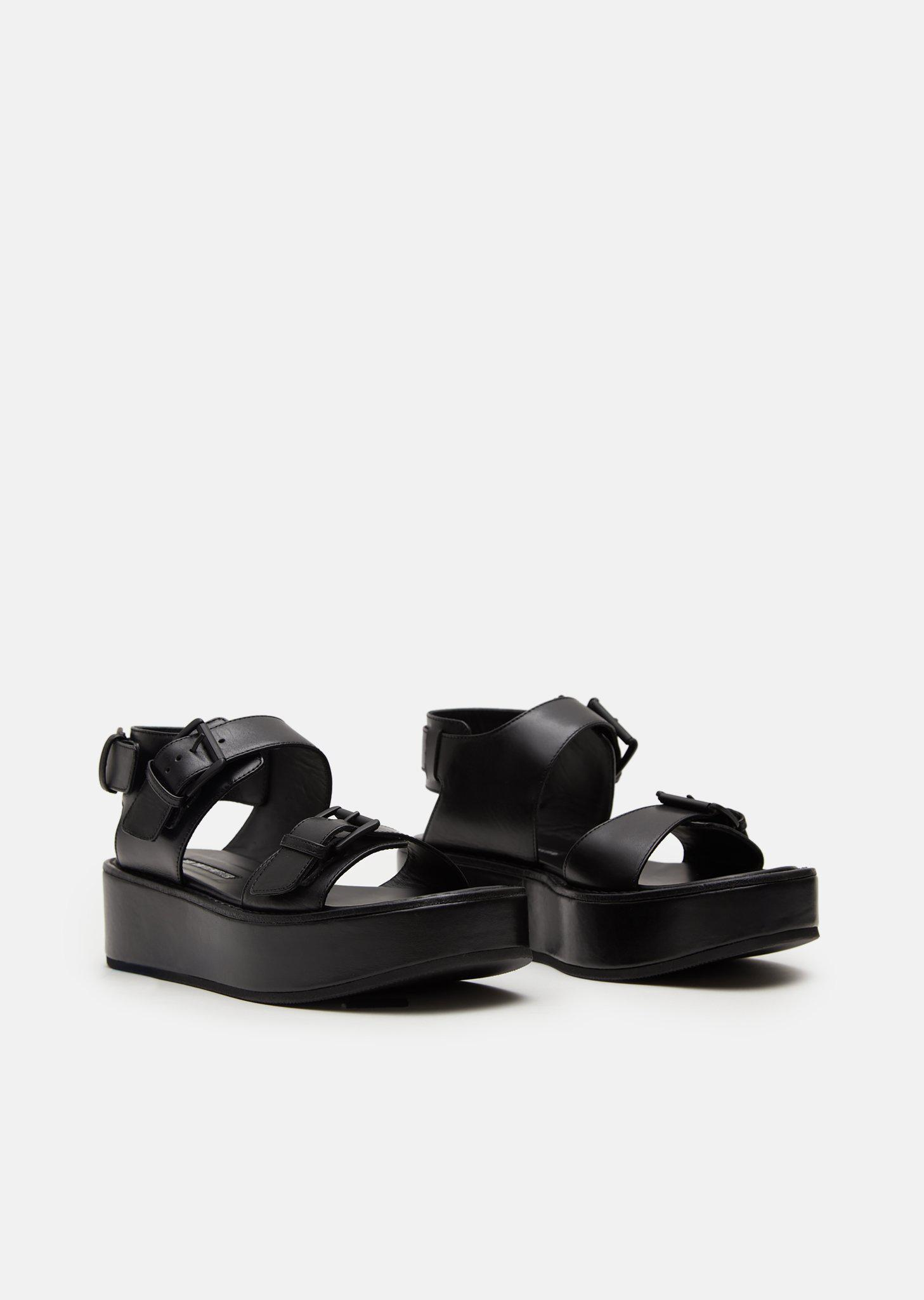 Black Leather Platform Sandals Ann Demeulemeester R2GcX0UsE