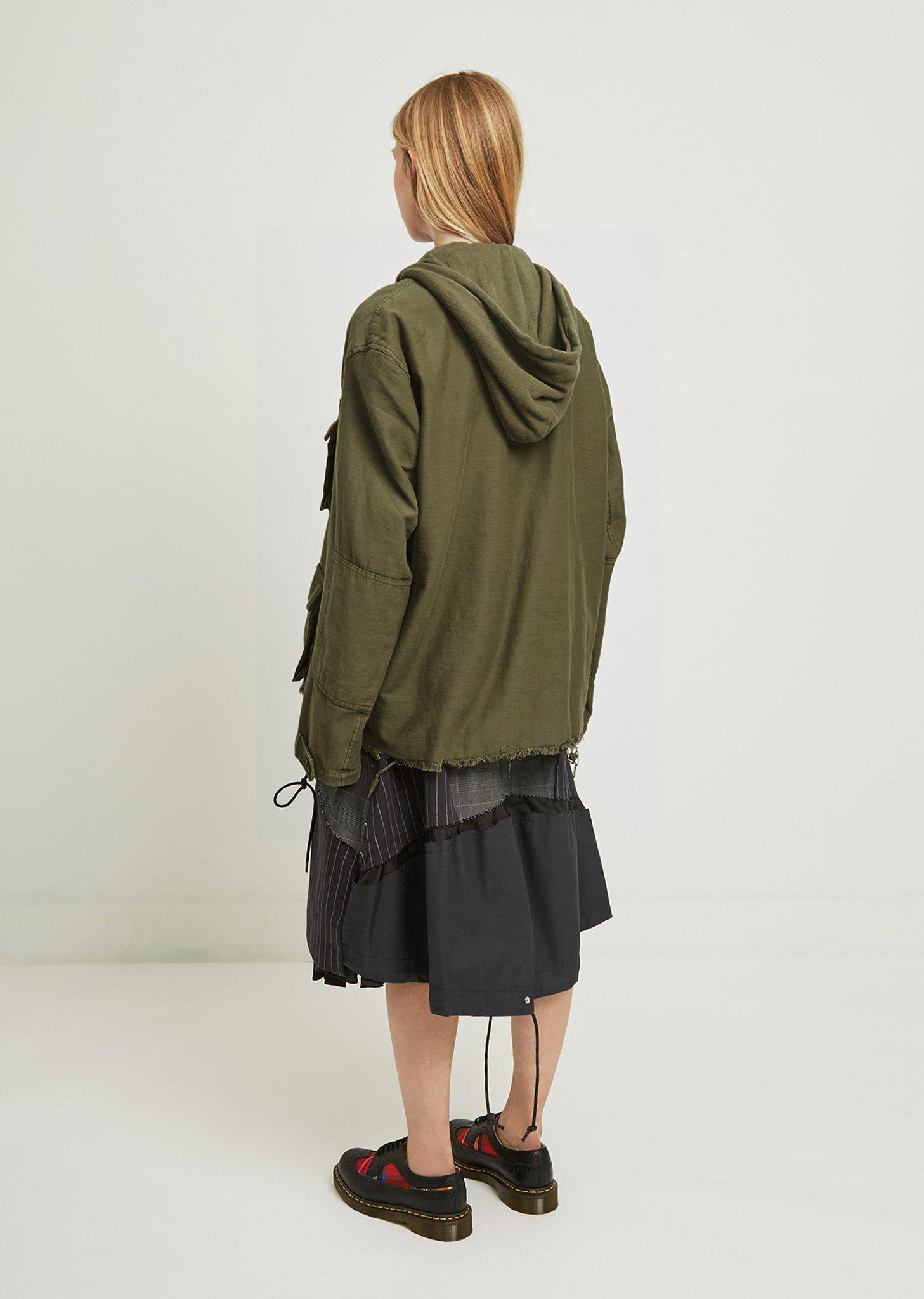 R13 Cotton Hooded Abu Jacket in Olive (Green) for Men