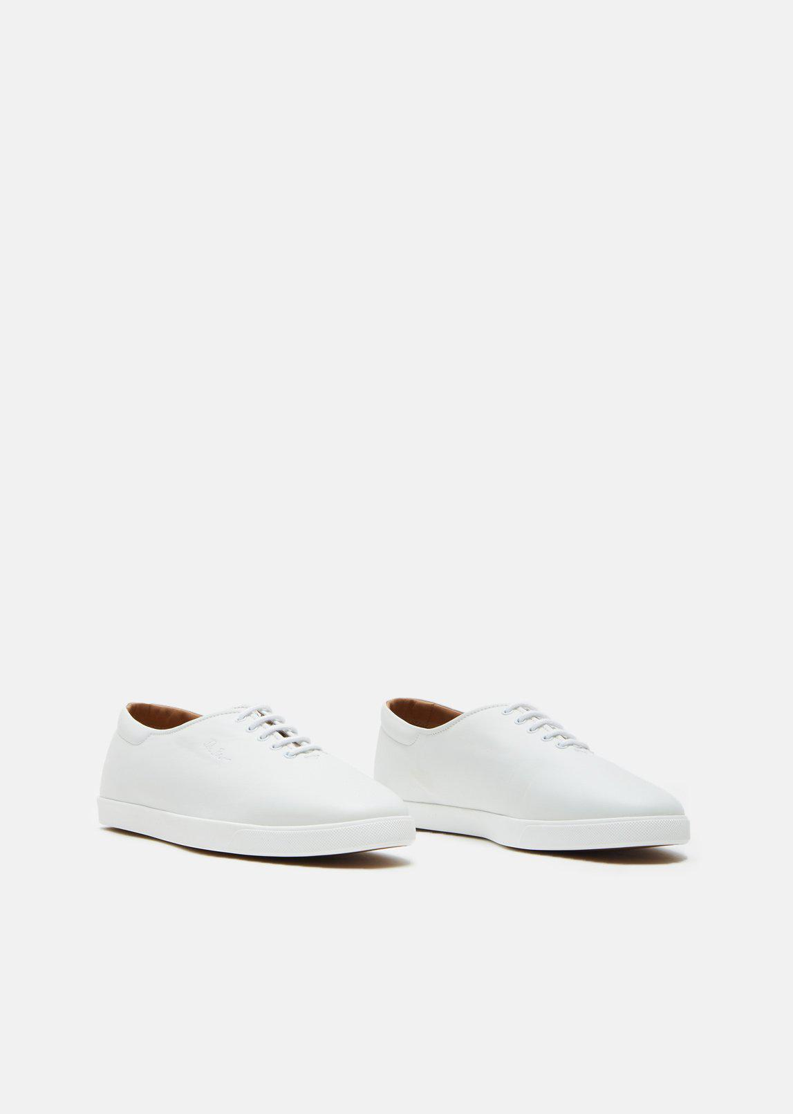 The Row Dean Leather Lace-up Sneakers in White