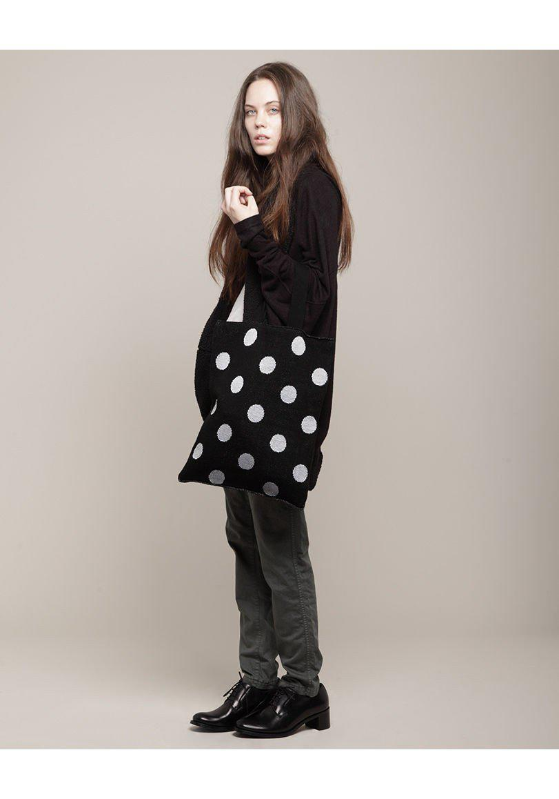Hansel From Basel Fleece Polka Dot Tote in Black & White (Black)
