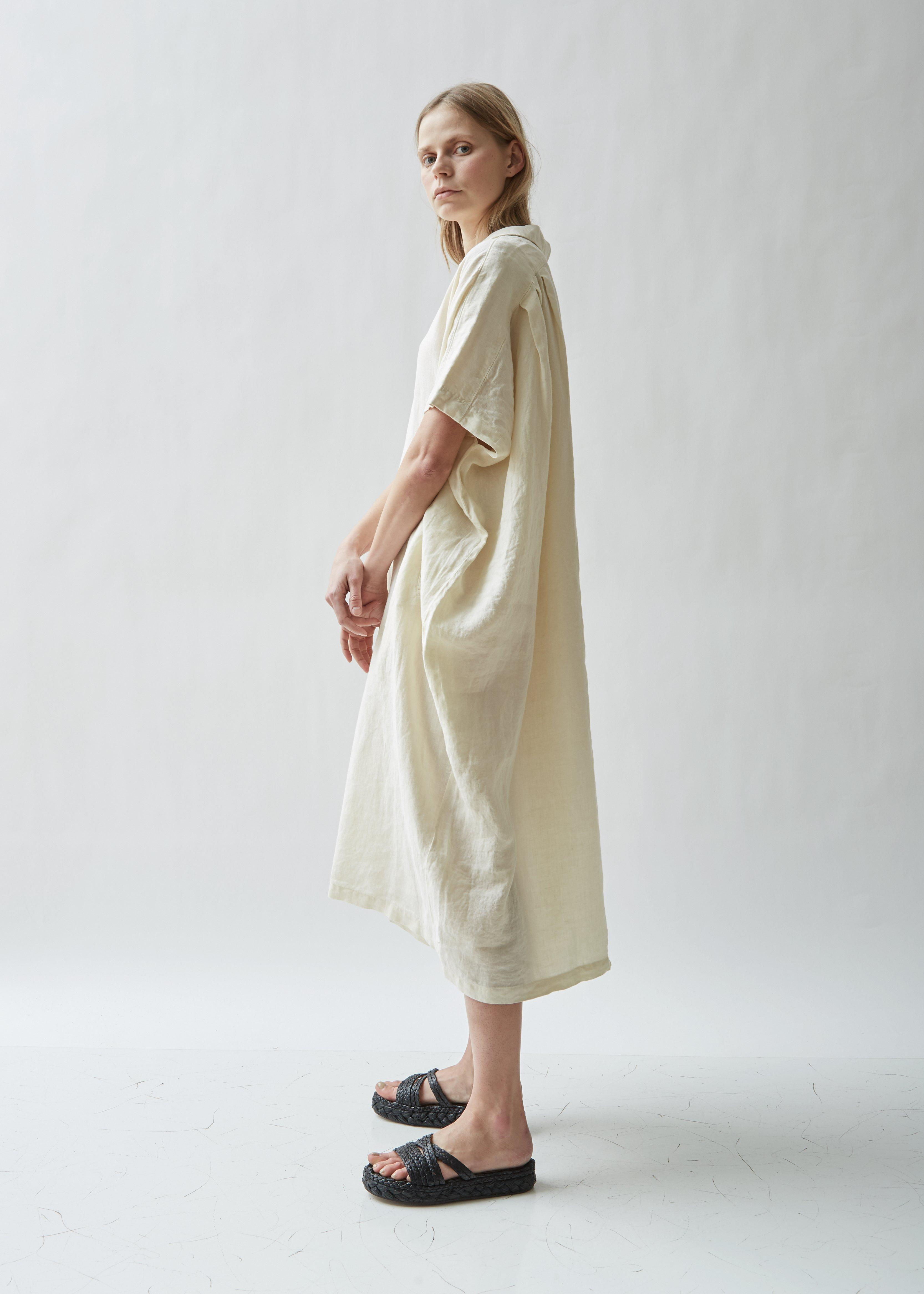 c88c0b1ee08 Black Crane - Natural Kite Short Sleeve Linen Dress - Lyst. View fullscreen