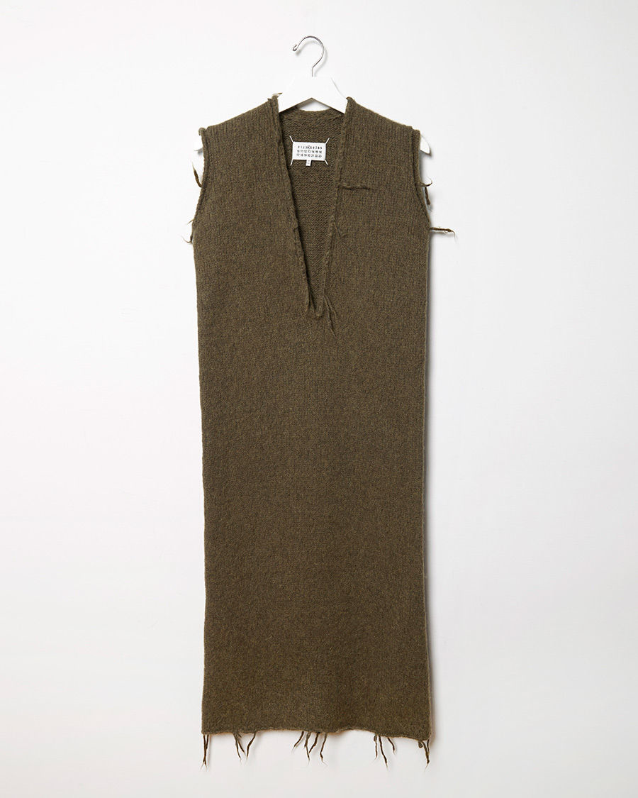 Lyst maison margiela felted v neck dress for Maison de margiela