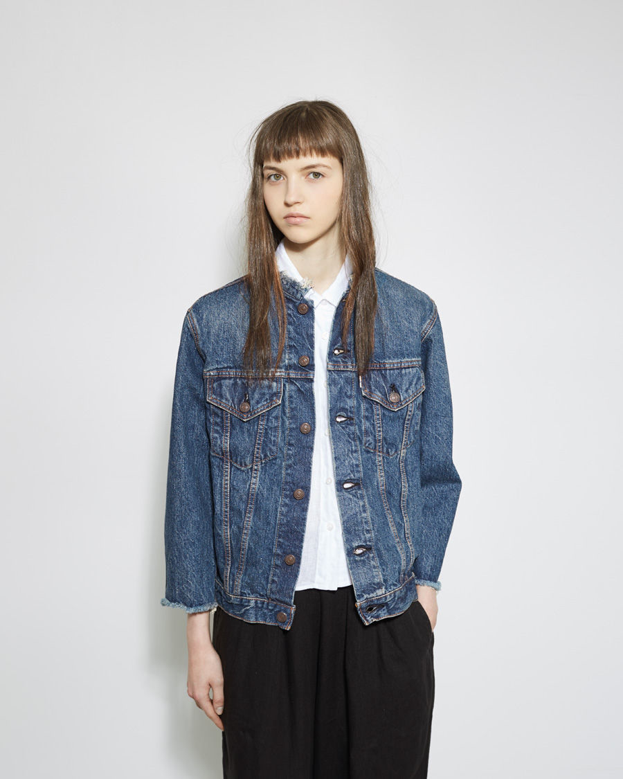 Gallery - Orslow Collarless Denim Jacket In Blue Lyst