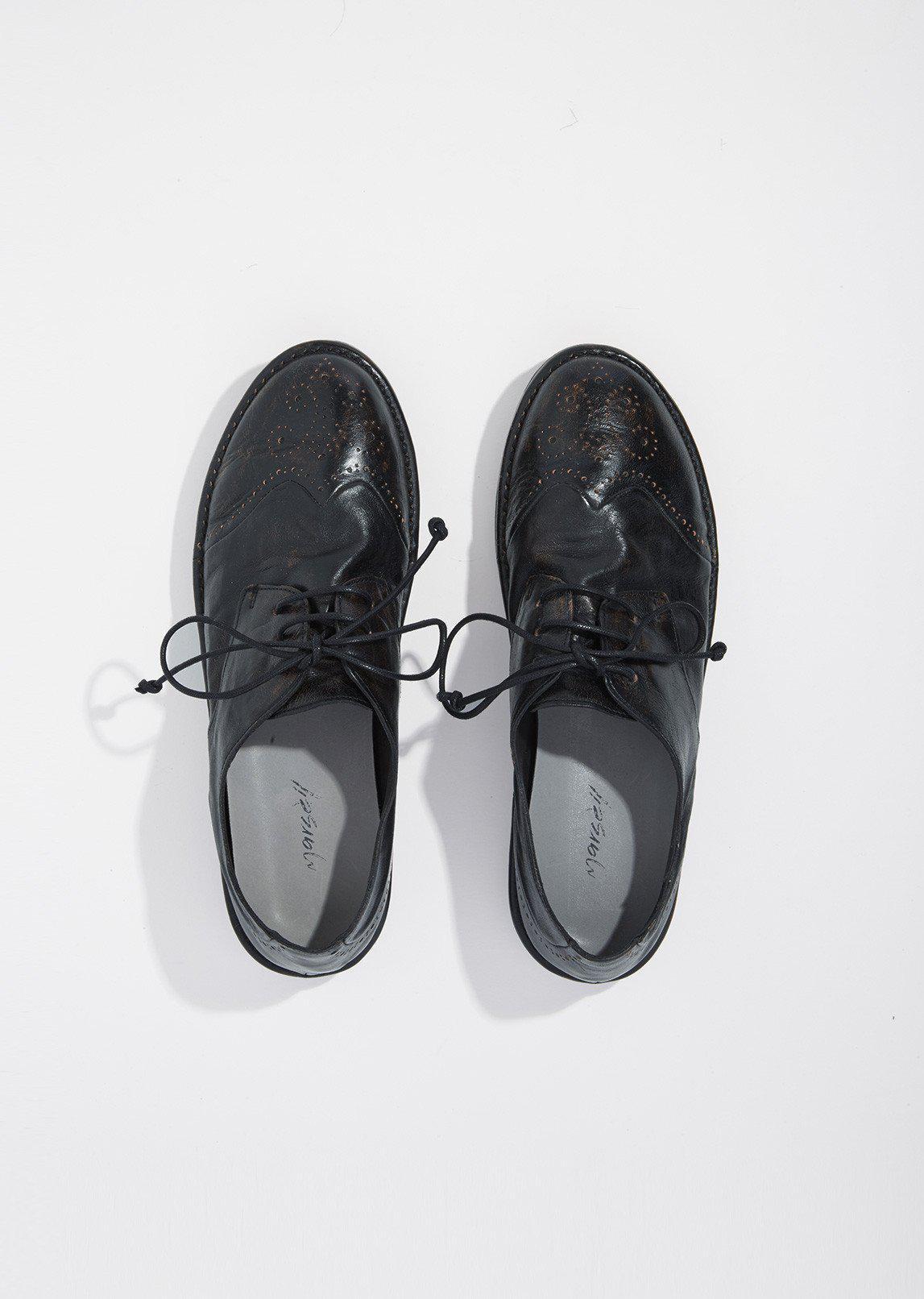 Marsèll MWG002 NERO Women/'s fashion round toe lace-ups shoes black calf leather