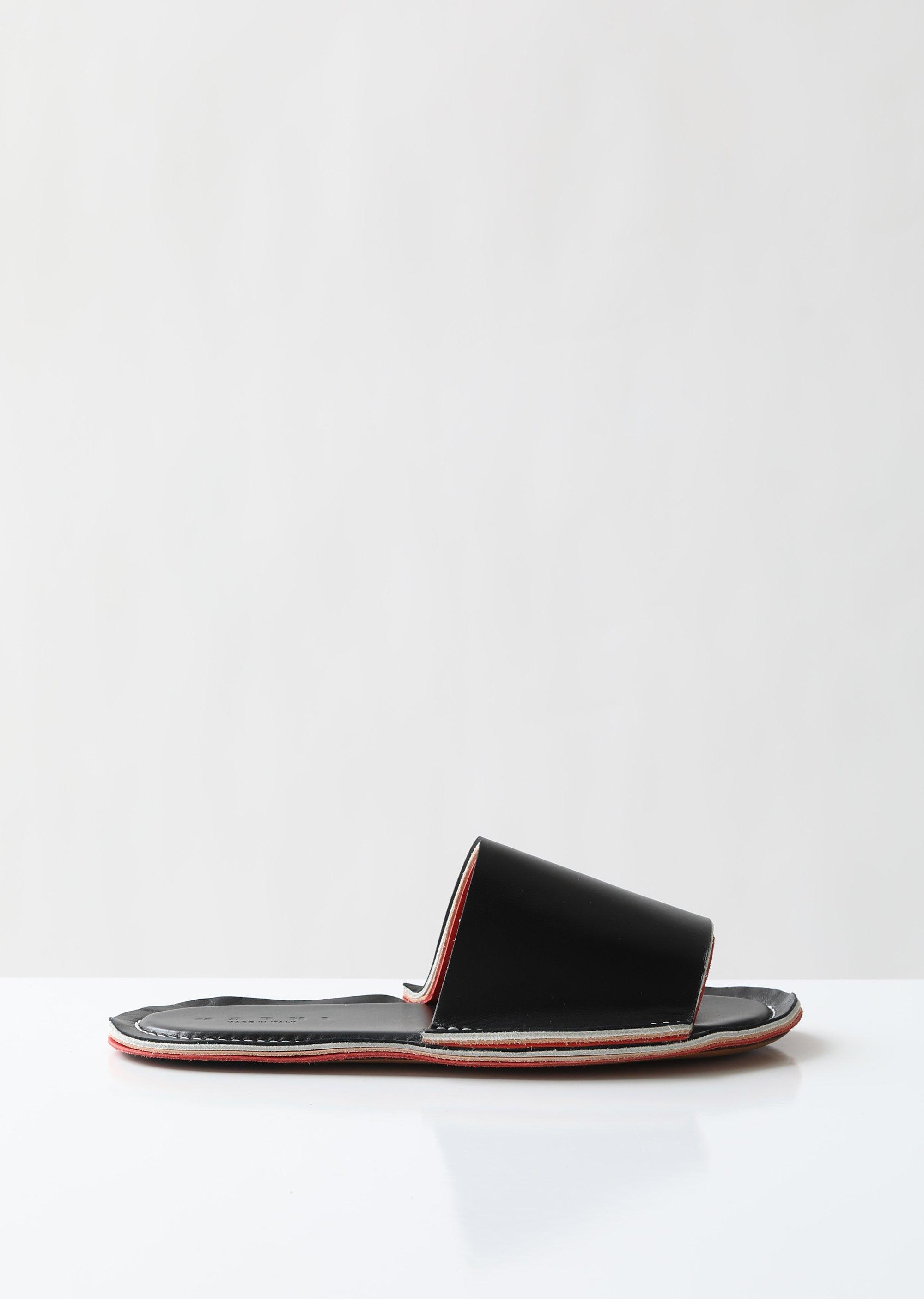 cc05d1b15c27 Marni - Black Layered Flat Leather Slides - Lyst. View fullscreen