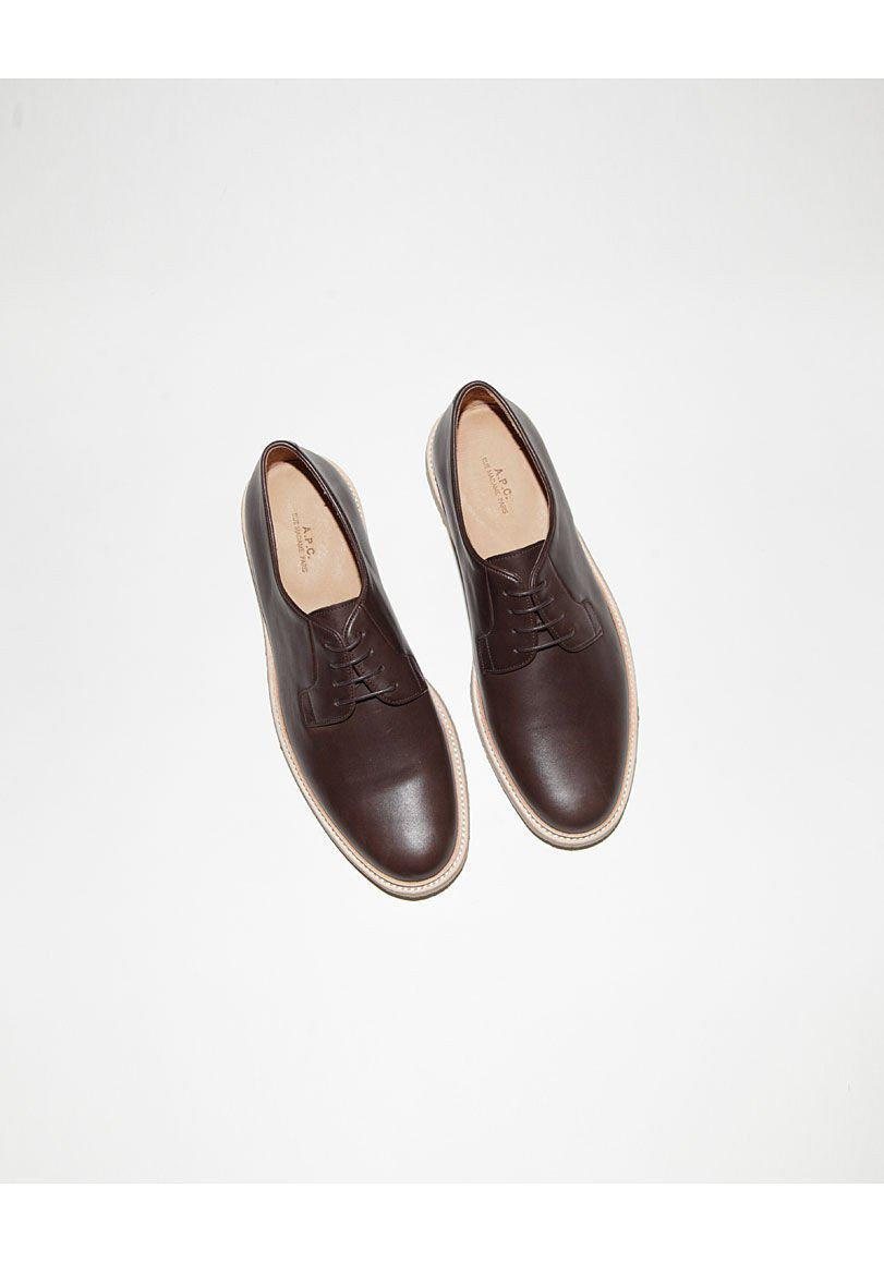 A.P.C. Leather Derby Crepe Oxford for Men