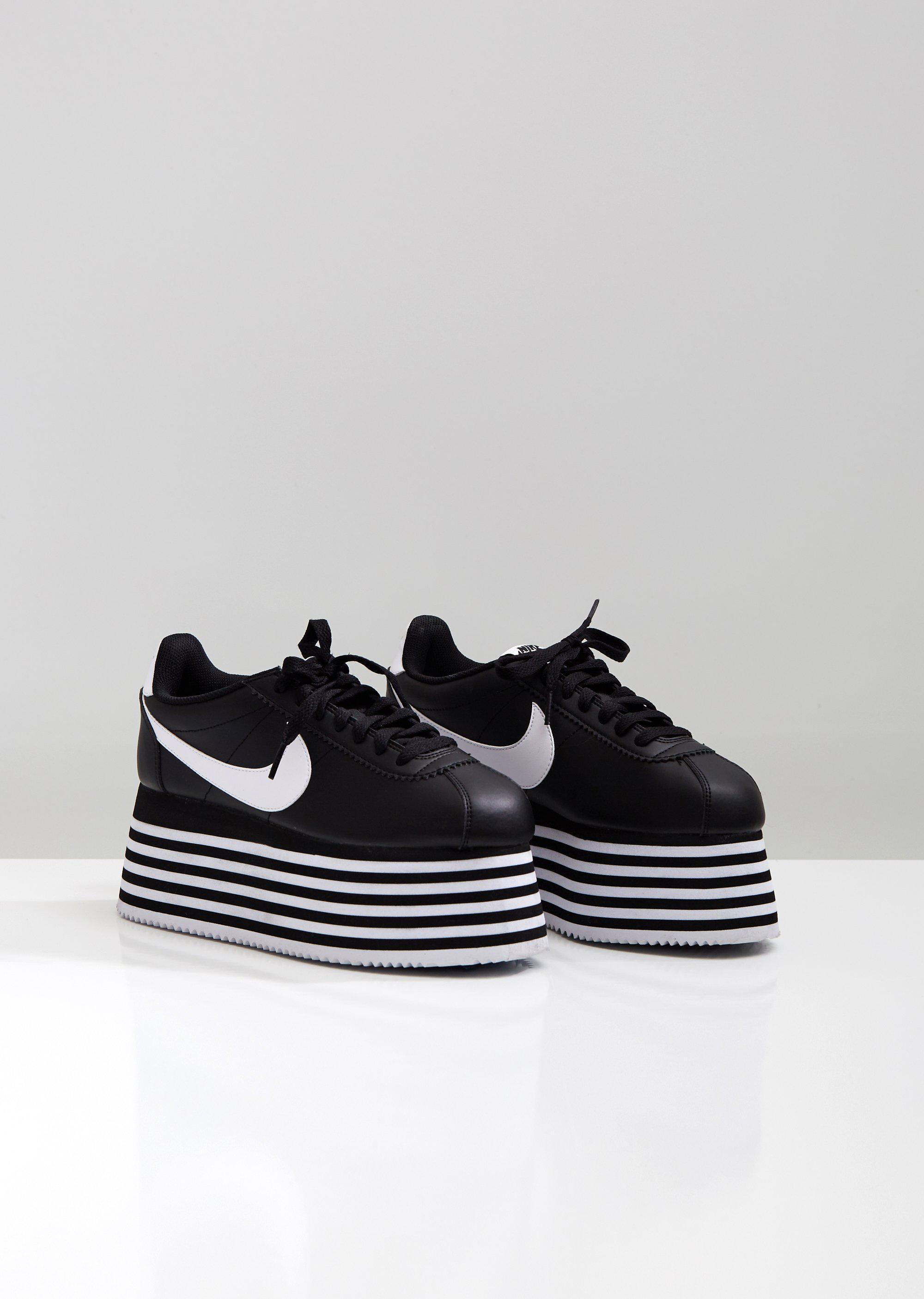 wholesale dealer 98953 8cc46 Comme des Garçons Leather X Nike Platform Sneakers in Black ...
