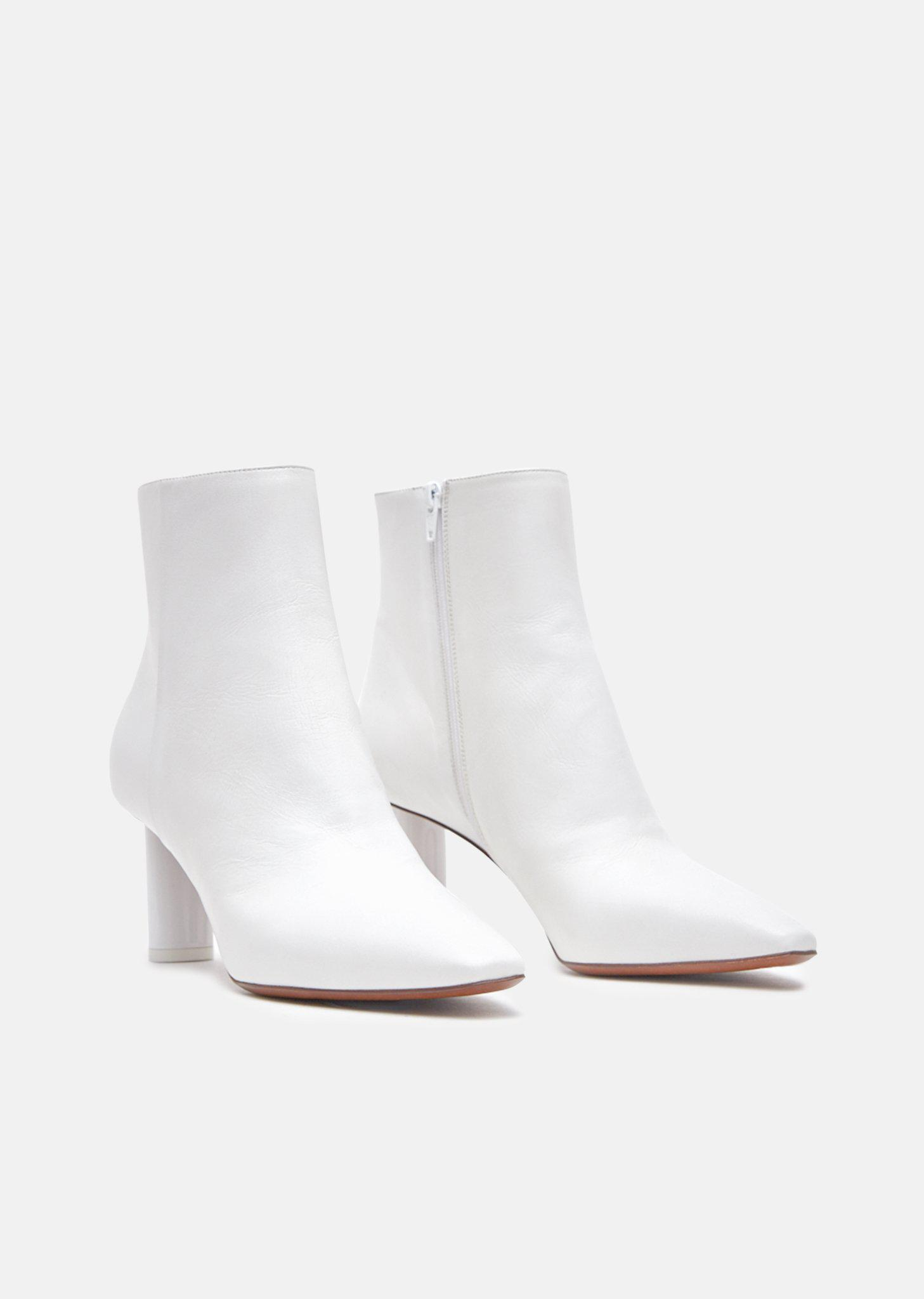 Vetements Leather Lighter Ankle Boots in White