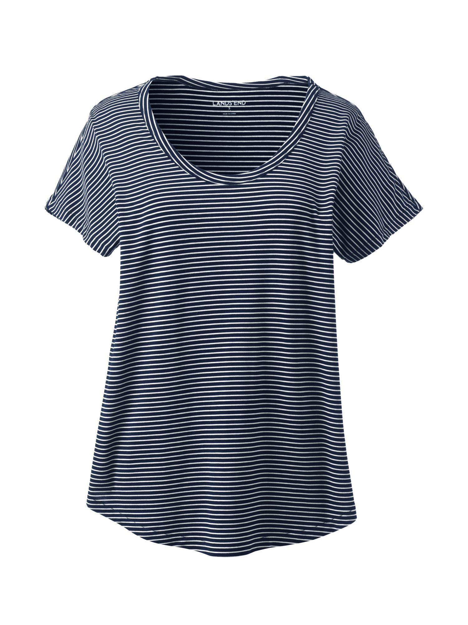 Womens Stripe T-shirt Dress with Dolman Sleeves - 10 -12 - BLUE Lands End Free Shipping Big Sale eSUWPgzxId