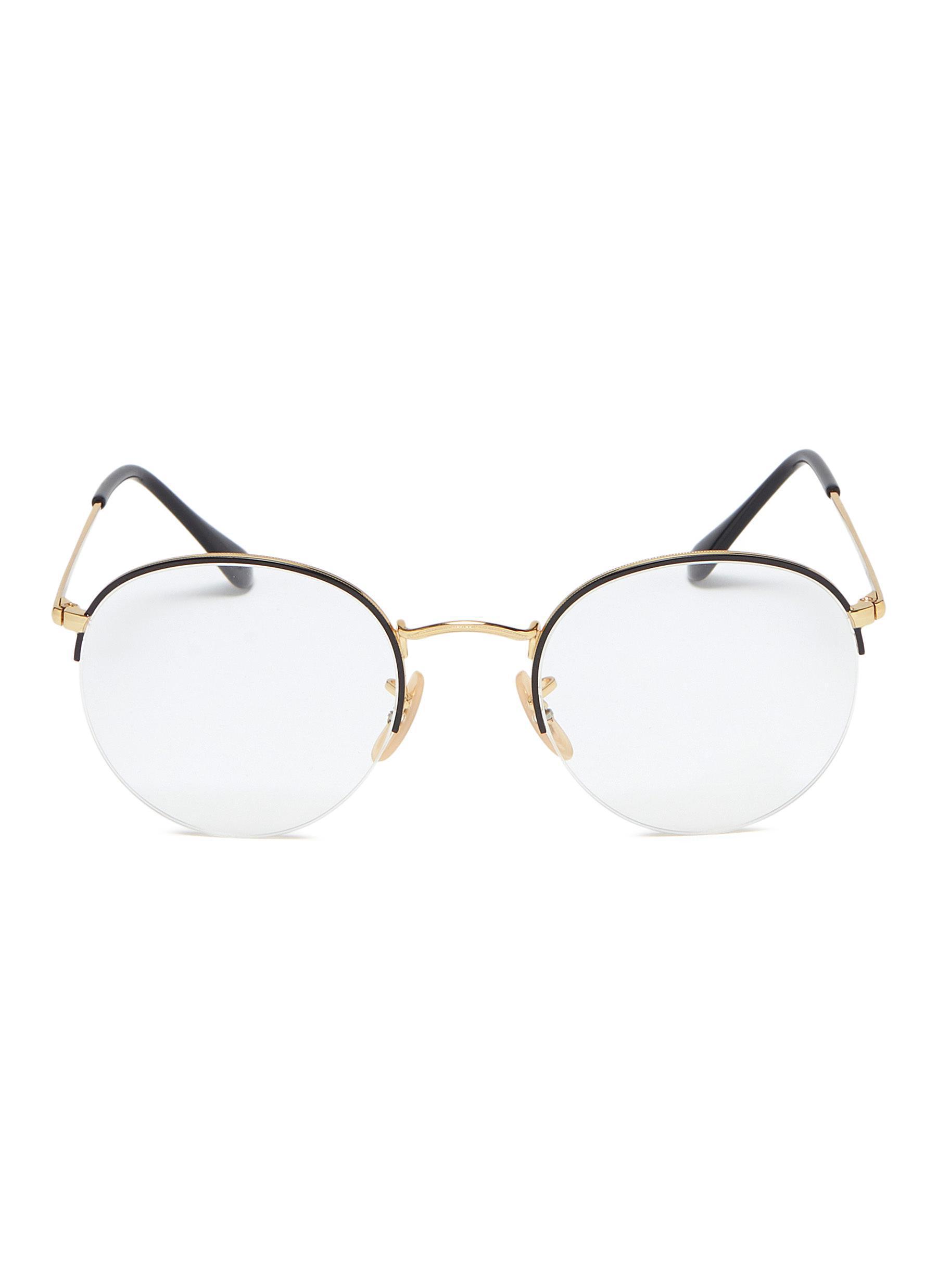 9cdfe4a9c Ray-Ban 'gaze' Metal Round Optical Glasses in Metallic - Lyst