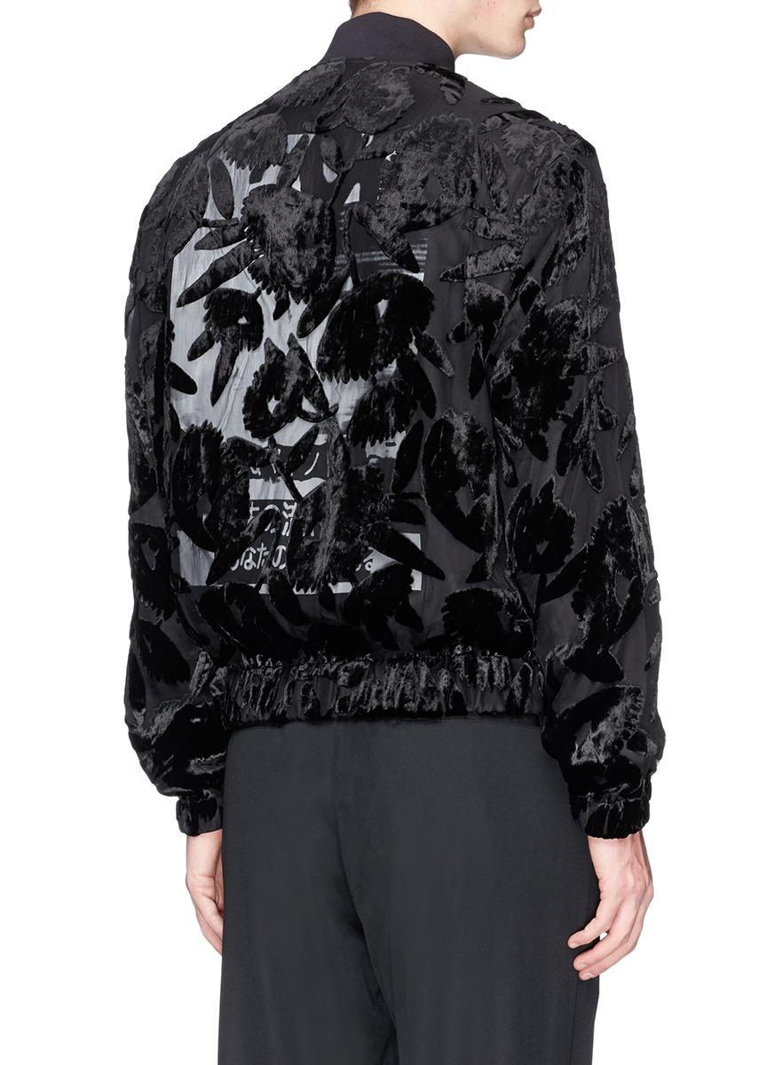 McQ Synthetic Floral Devoré Ma-1 Bomber Jacket in Black for Men