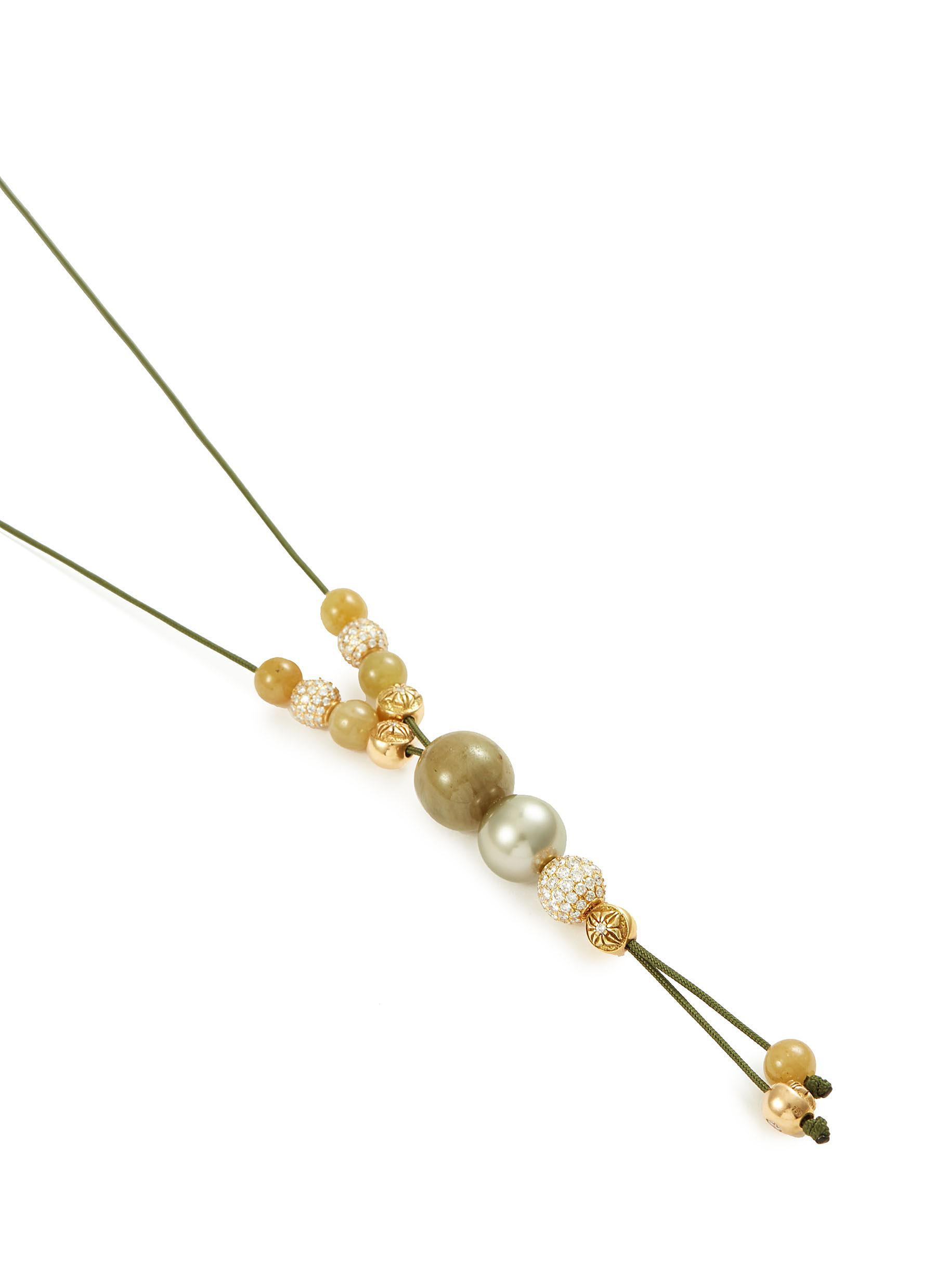 Shamballa Jewels Diamond Sapphire 18k Yellow Gold Necklace in Metallic
