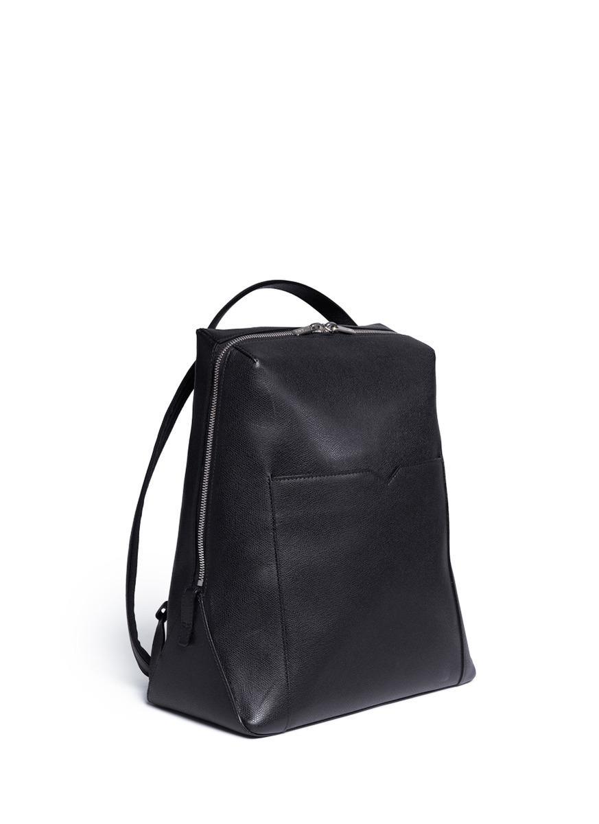 Valextra Black 'v Line' Leather Backpack for men