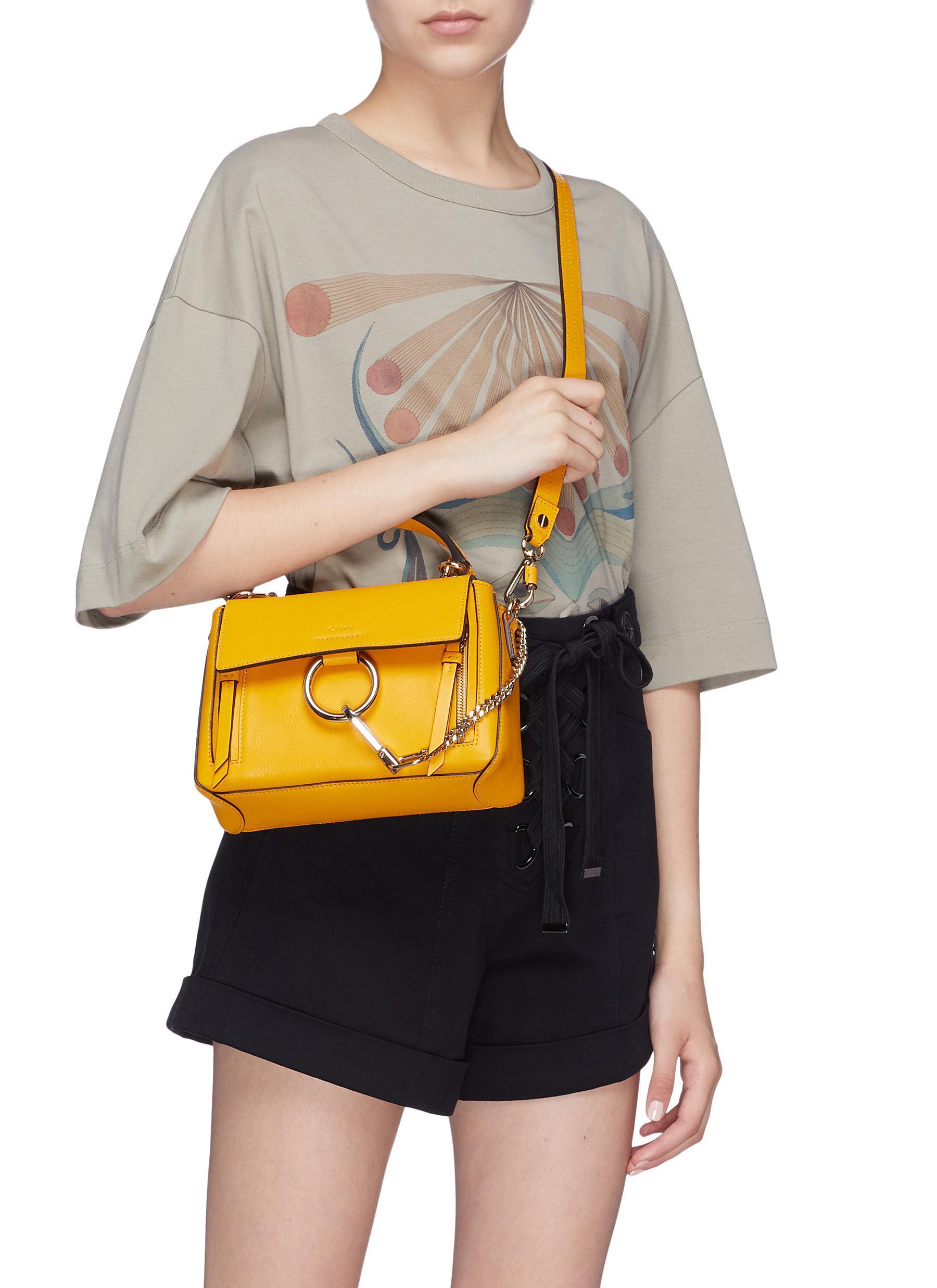 7e6ac9b76f Chloé 'faye Day' Mini Leather Shoulder Bag in Yellow - Lyst