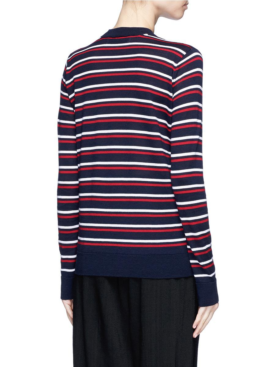 Être cécile Stripe Merino Wool Boyfriend Sweater in Blue | Lyst