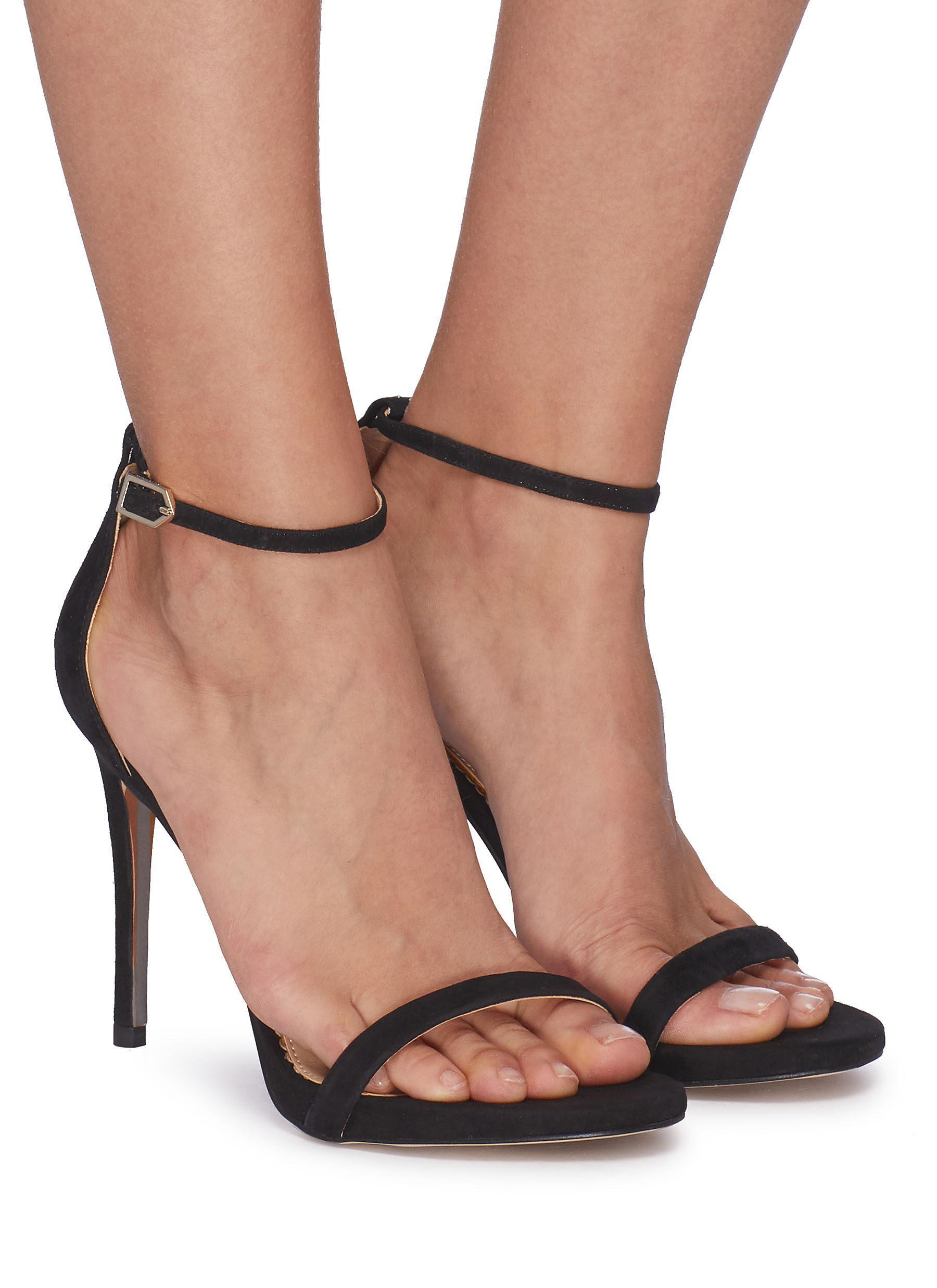 0d840a074a17 Lyst - Sam Edelman  ariella  Ankle Strap Suede Sandals in Black