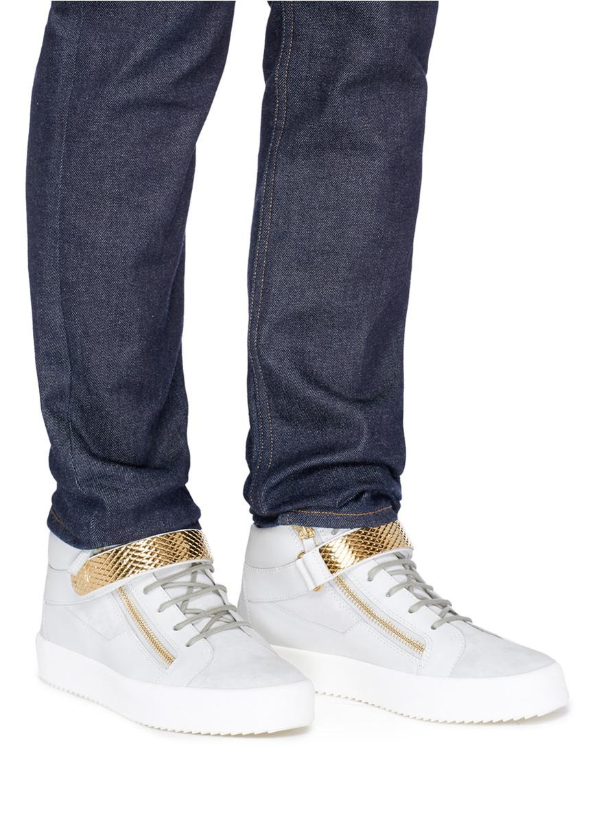 5fc8a85b05d9 Giuseppe Zanotti  archer  Suede And Leather High Top Sneakers in ...