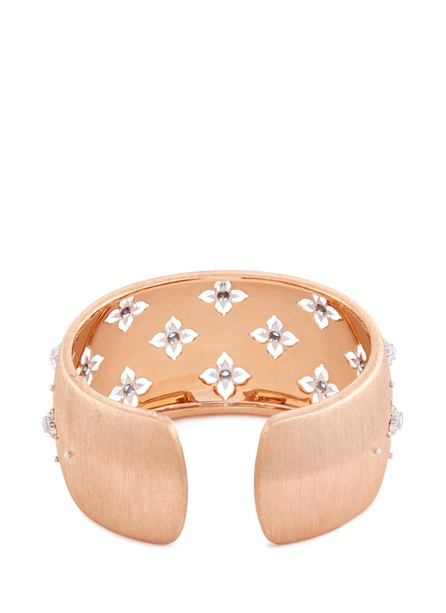 Buccellati 'macri' Diamond Floral 18k Rose And White Gold Cuff in Metallic