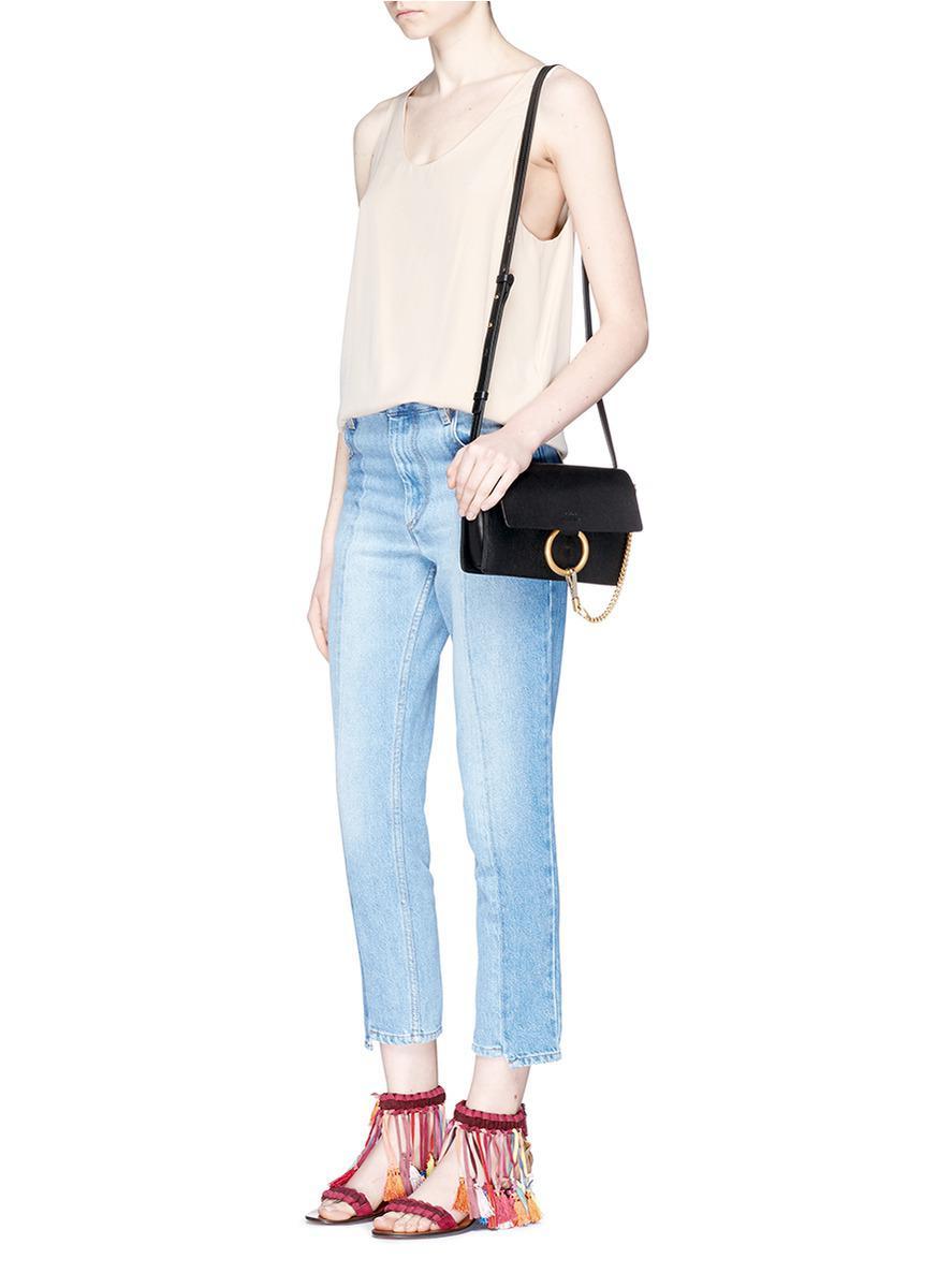 16ce56f9cb610 Chloé 'faye' Small Goatskin Leather Shoulder Bag in Black - Lyst