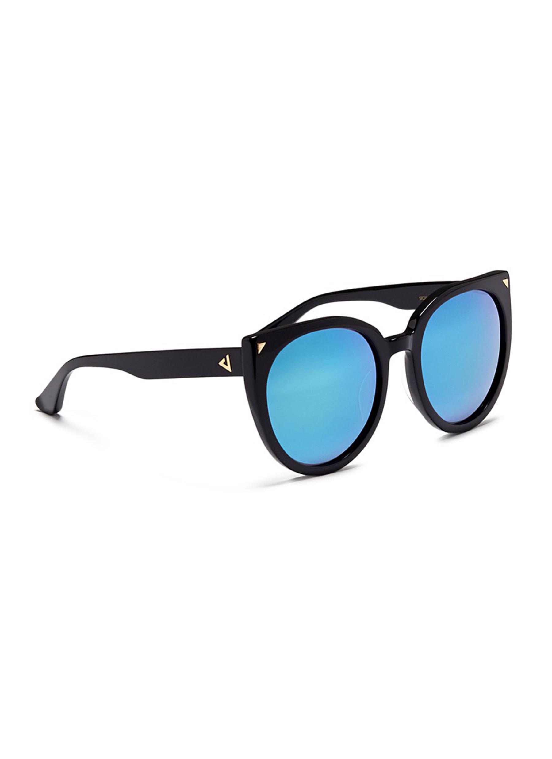 Stephane + Christian 'monroe' Oversize Cat Eye Acetate Mirror Sunglasses in Blue