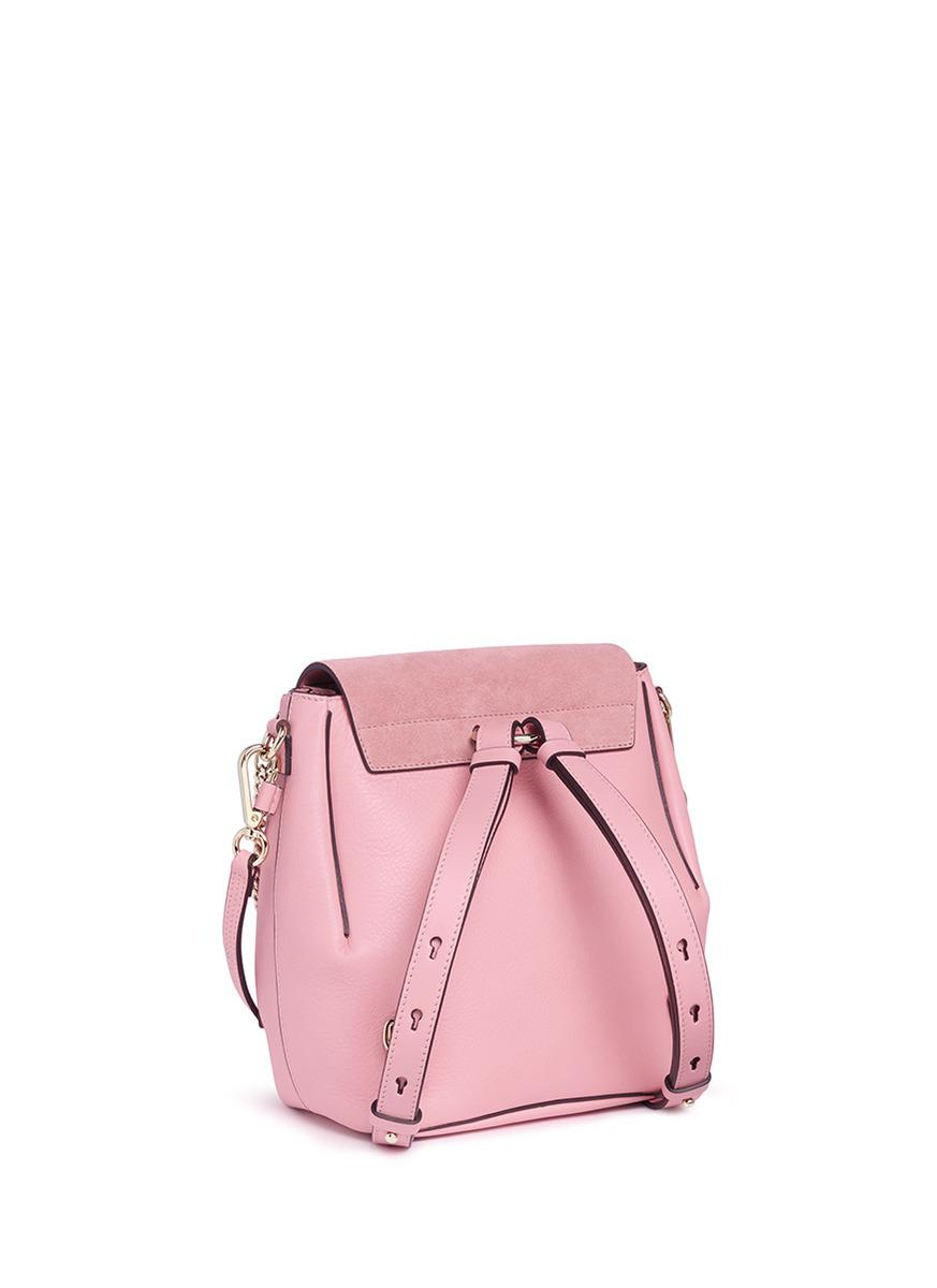 Chloé 'faye' Small Suede Flap Leather Backpack in Washed Pink (Pink)