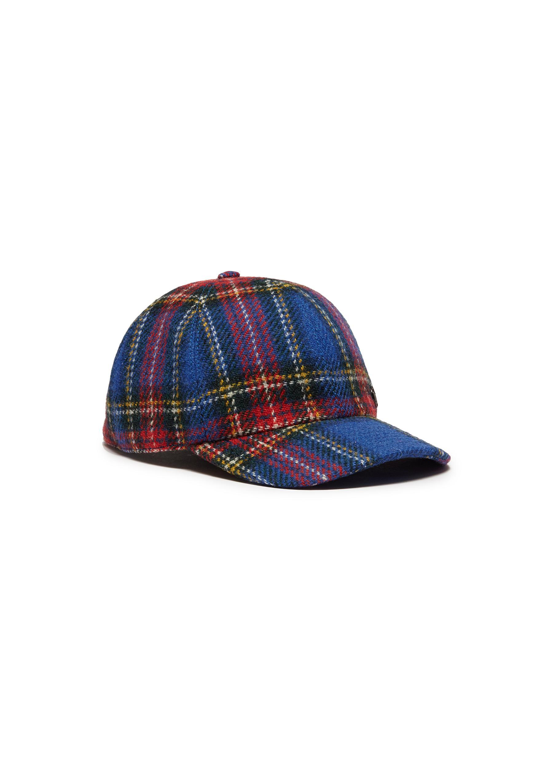 Maison Michel  tiger  Tartan Plaid Baseball Cap in Blue - Lyst 911c557b4bd5