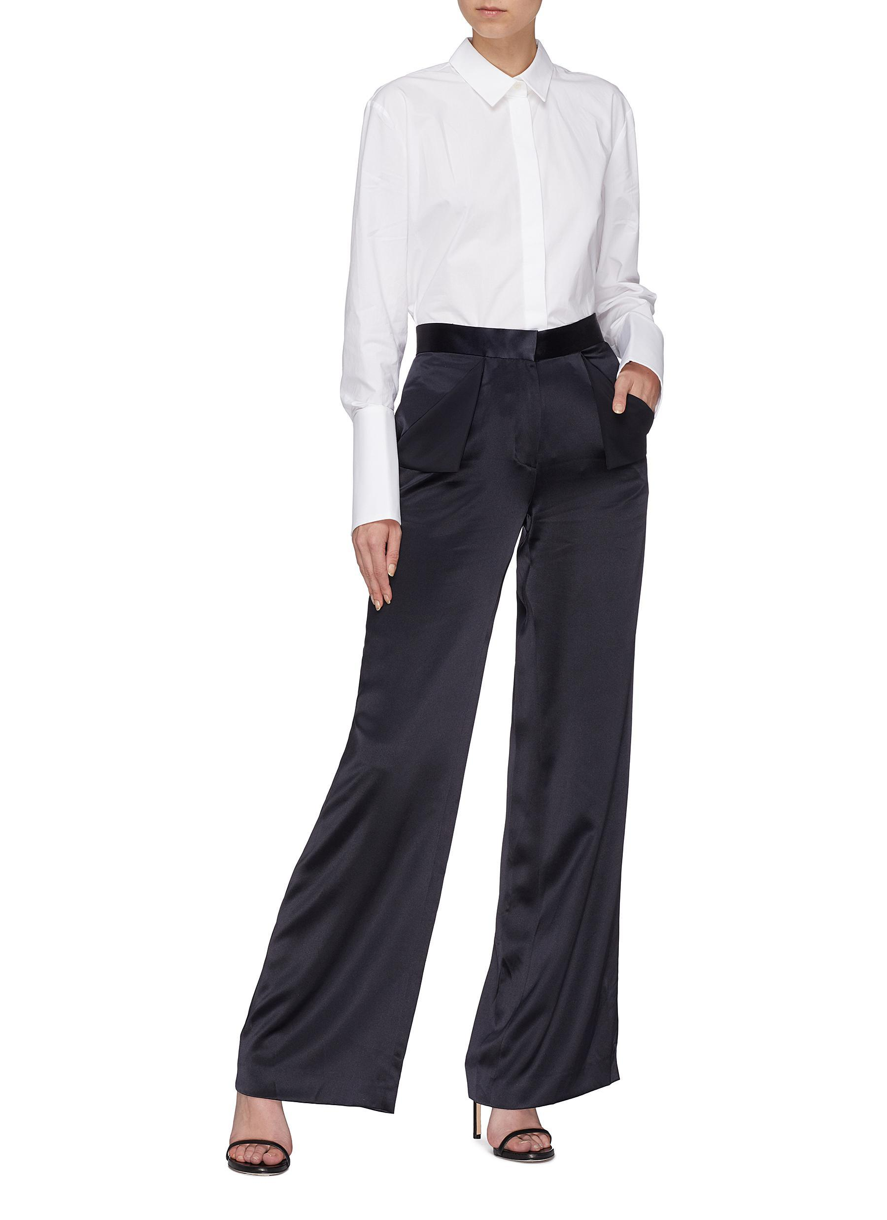 f50e551b4d Dion Lee Foldover Pocket Mulberry Silk Satin Wide Leg Pants in Blue ...