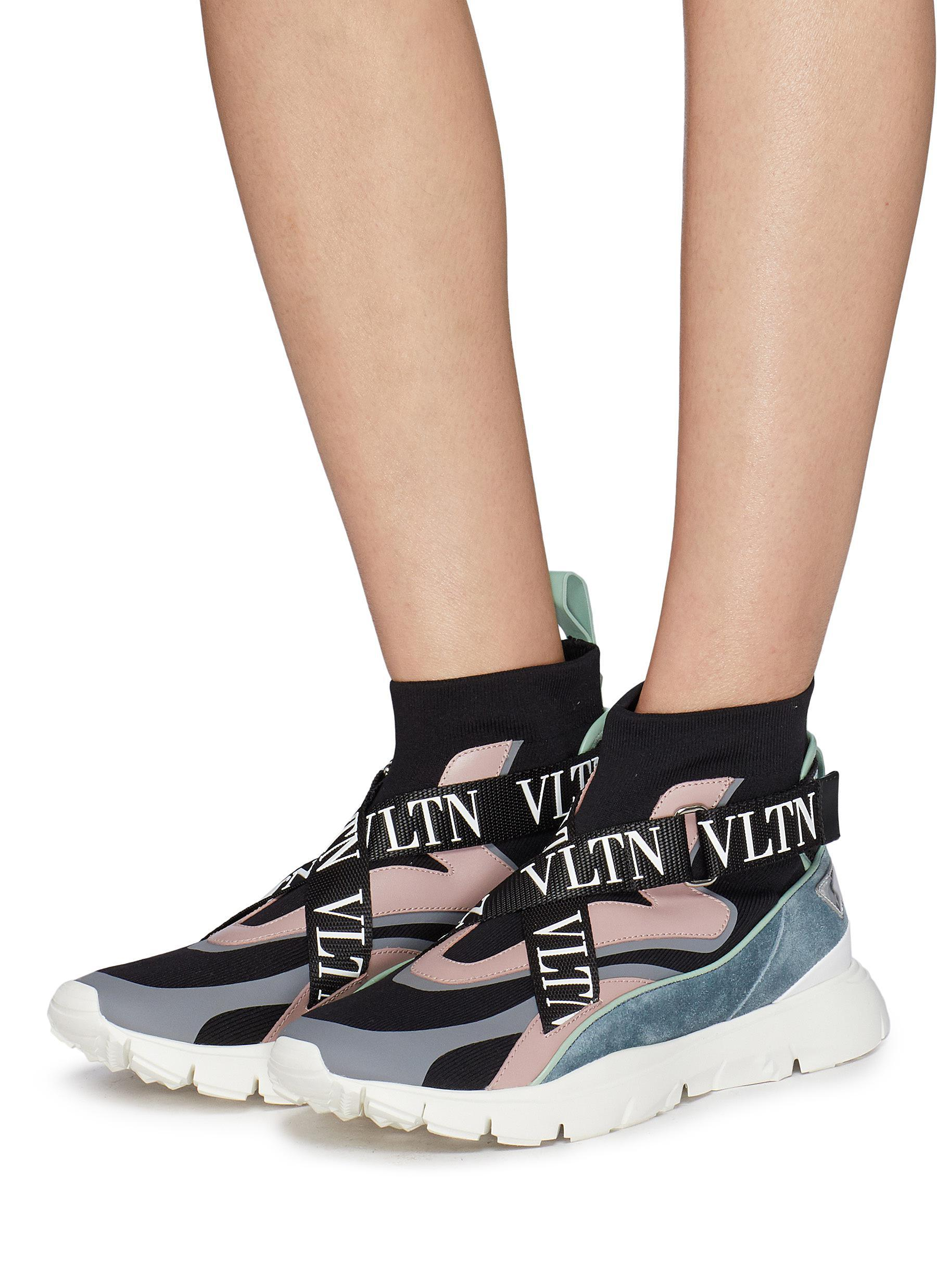 Strap Sock Knit High Top Sneakers - Lyst