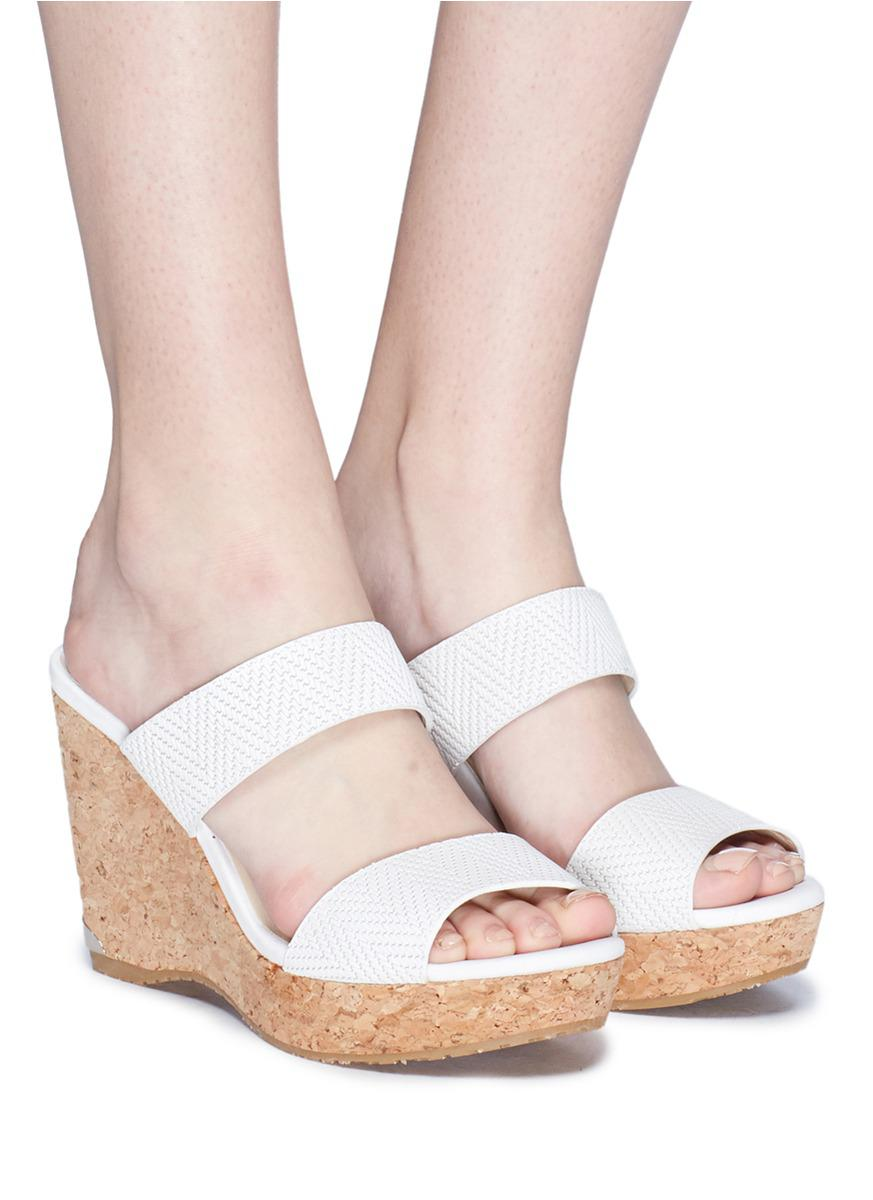 Cork Wedge Embossed Leather Sandals