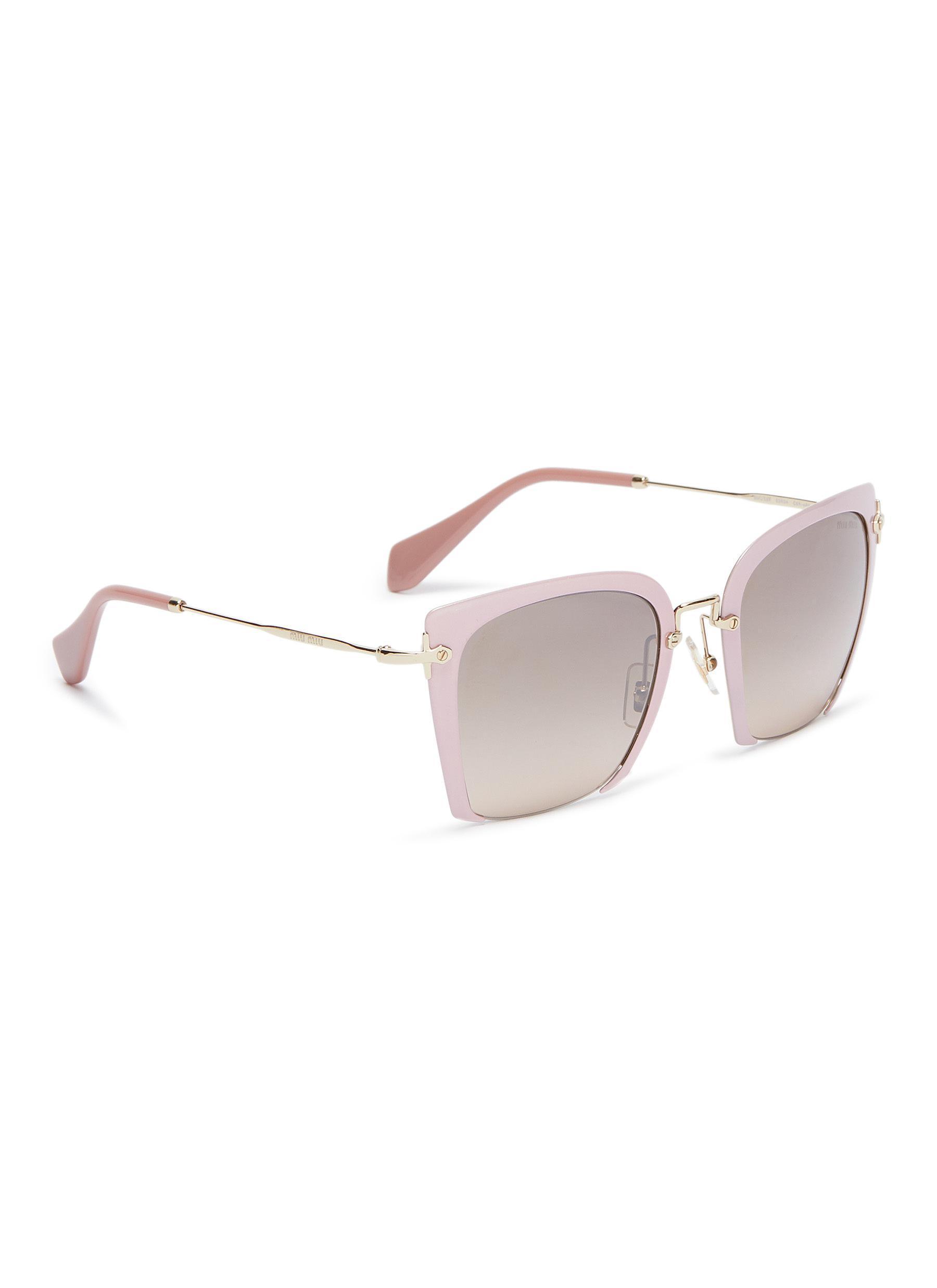 9842d087ed2 Miu Miu - Pink Cutout Acetate Front Metal Square Sunglasses - Lyst. View  fullscreen