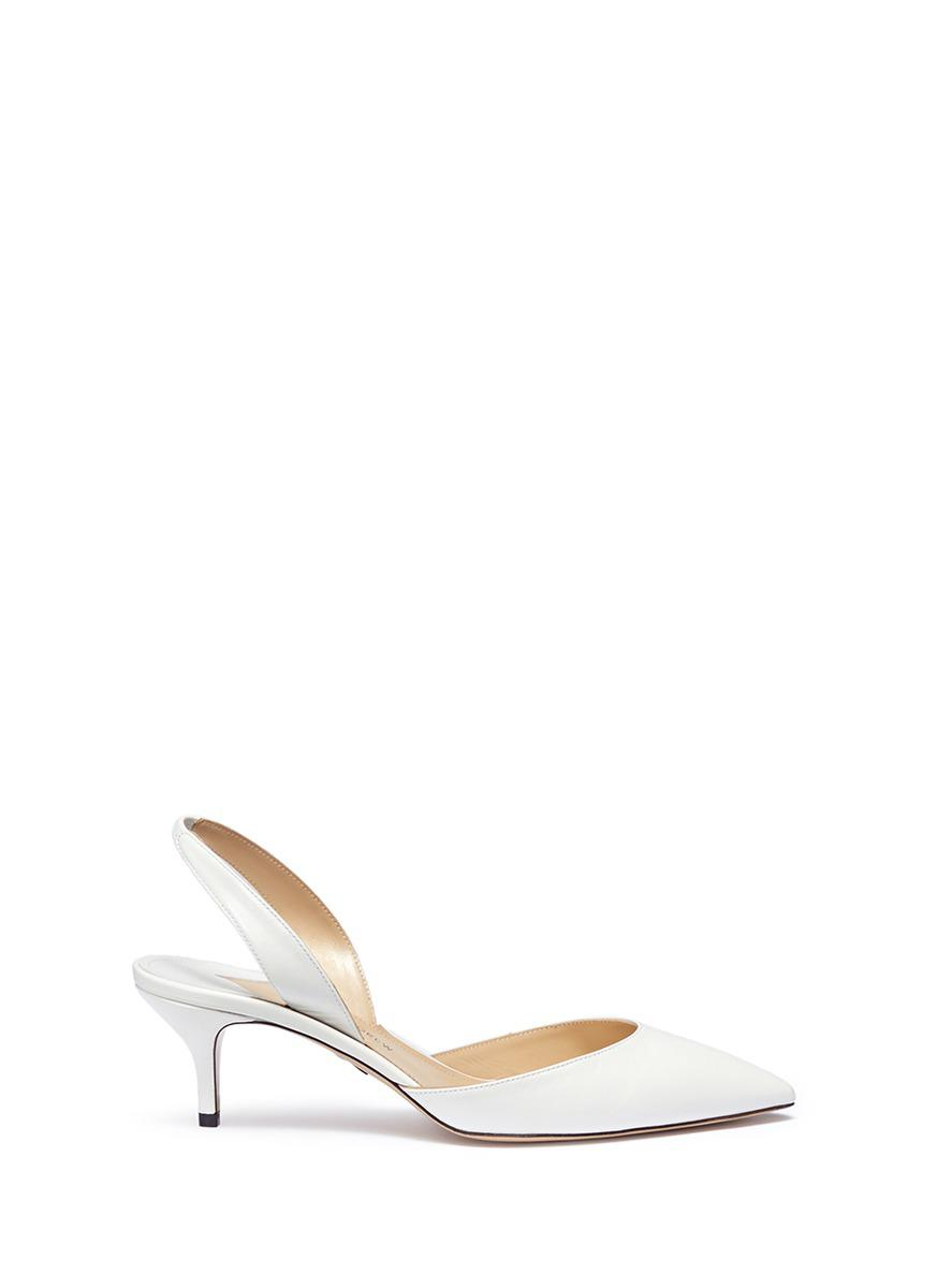13f74c67e79 Lyst - Paul Andrew  rhea  Leather Slingback Pumps in White
