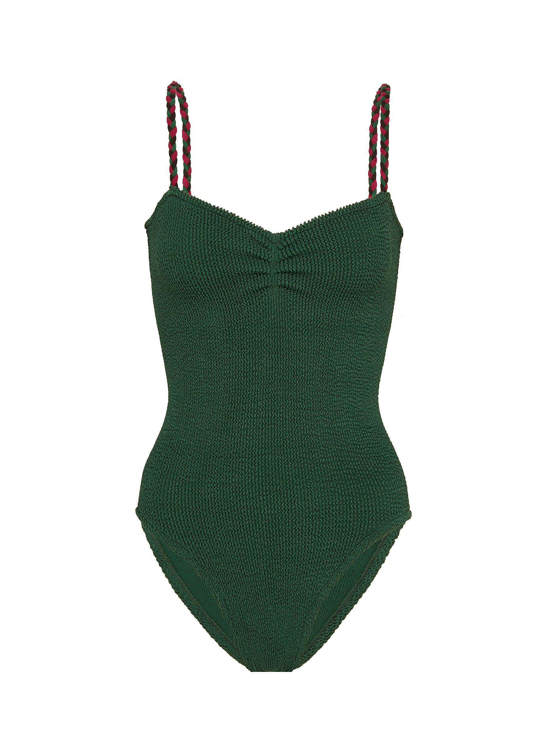 75d8088eff338 Hunza G 'trina' Braided Strap Seersucker One-piece Swimsuit in Green ...