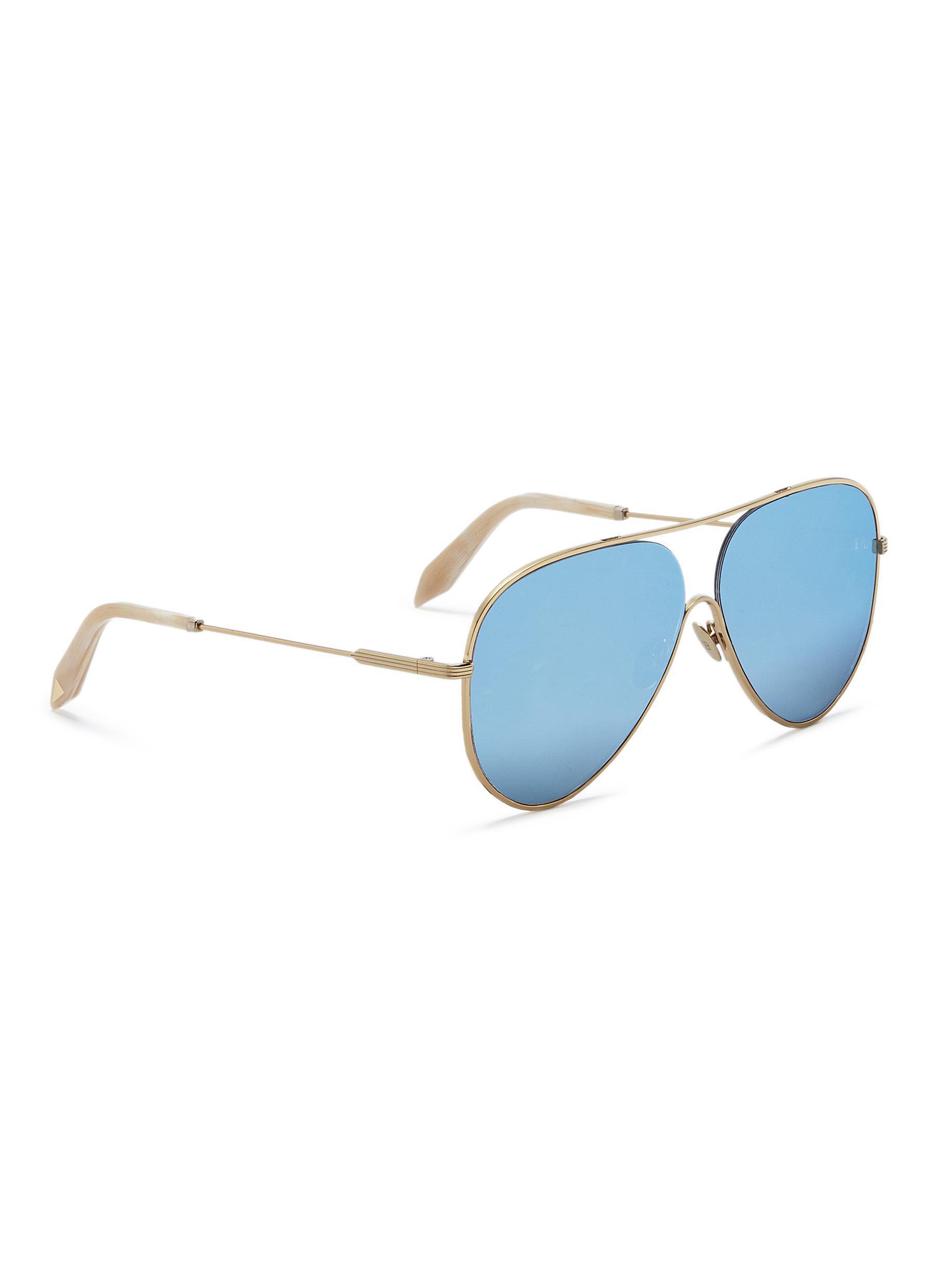'loop Metal Victoria Blue Mirror Aviator' Beckham Lyst Sunglasses fwqRxB
