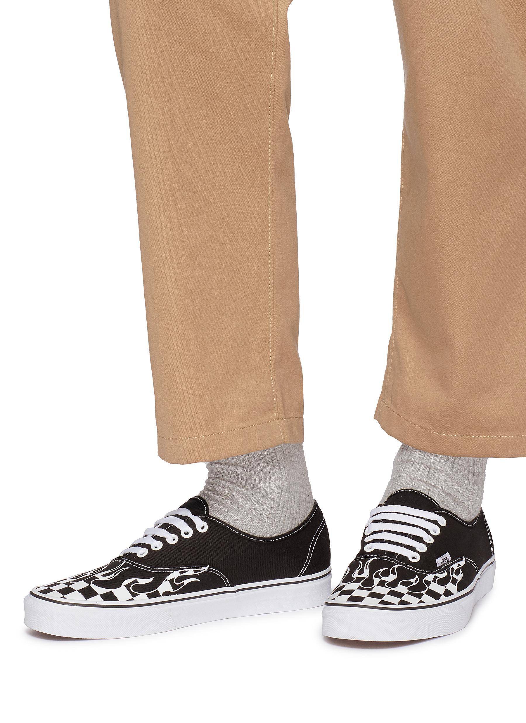Vans - Black  authentic  Checkerboard Flame Canvas Sneakers for Men - Lyst.  View fullscreen fb5858e50