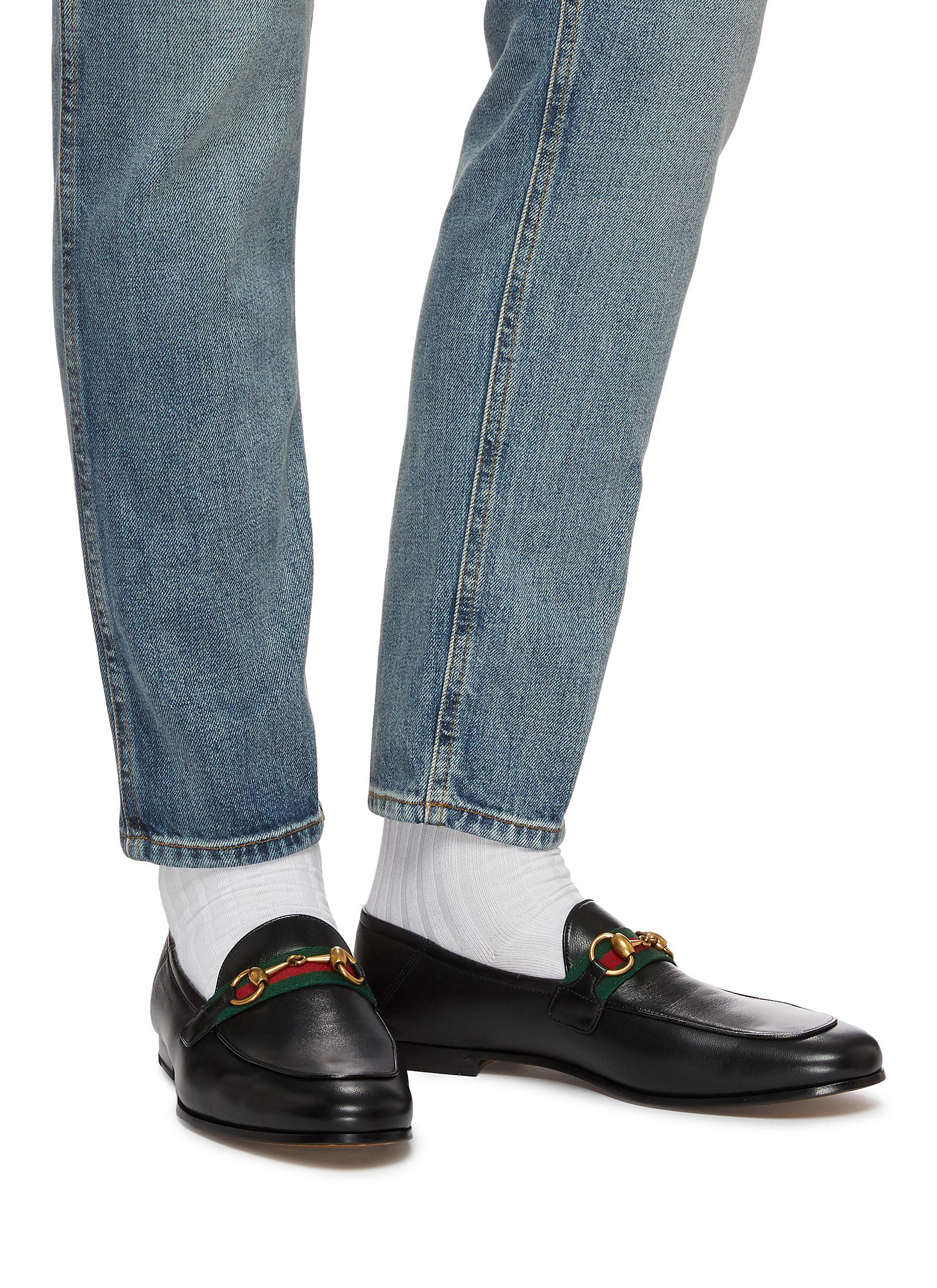 Gucci Leather GG Web Loafers in Black